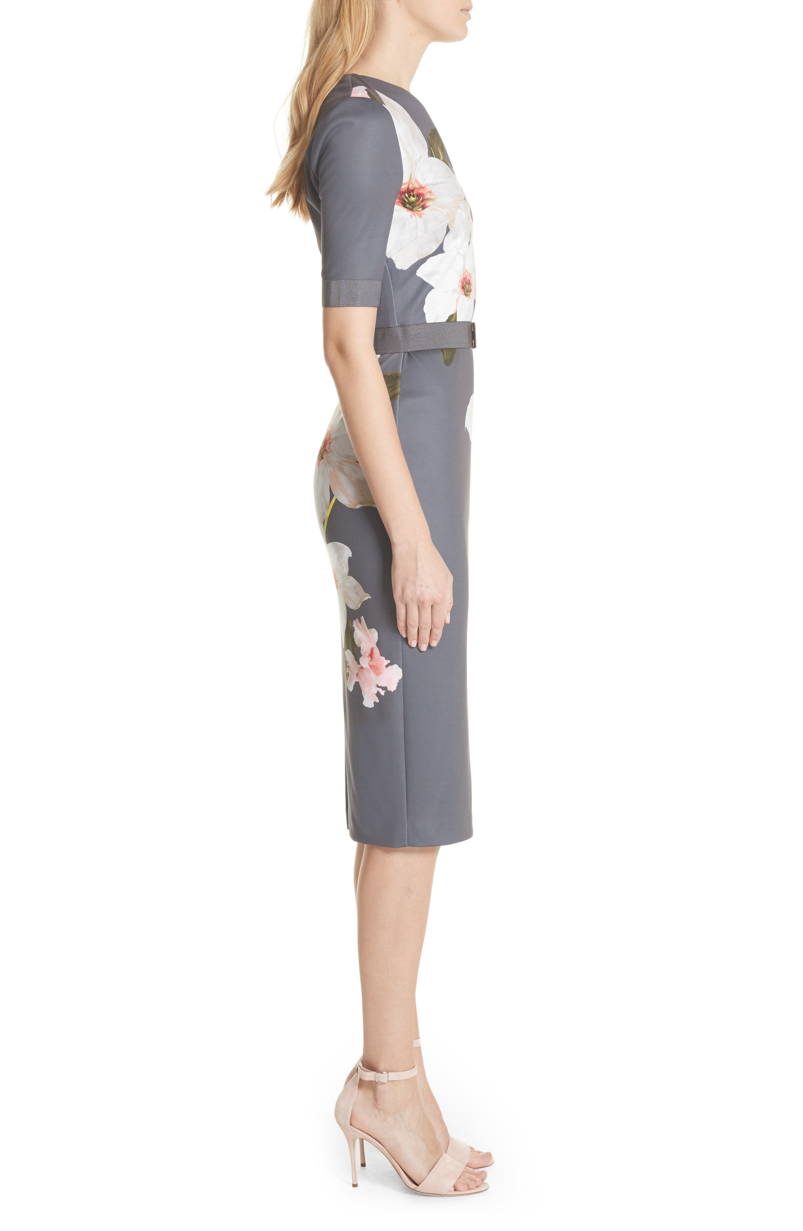 Floral Print Belted Body-Con Dress,                             Alternate thumbnail 3, color,                             Grey