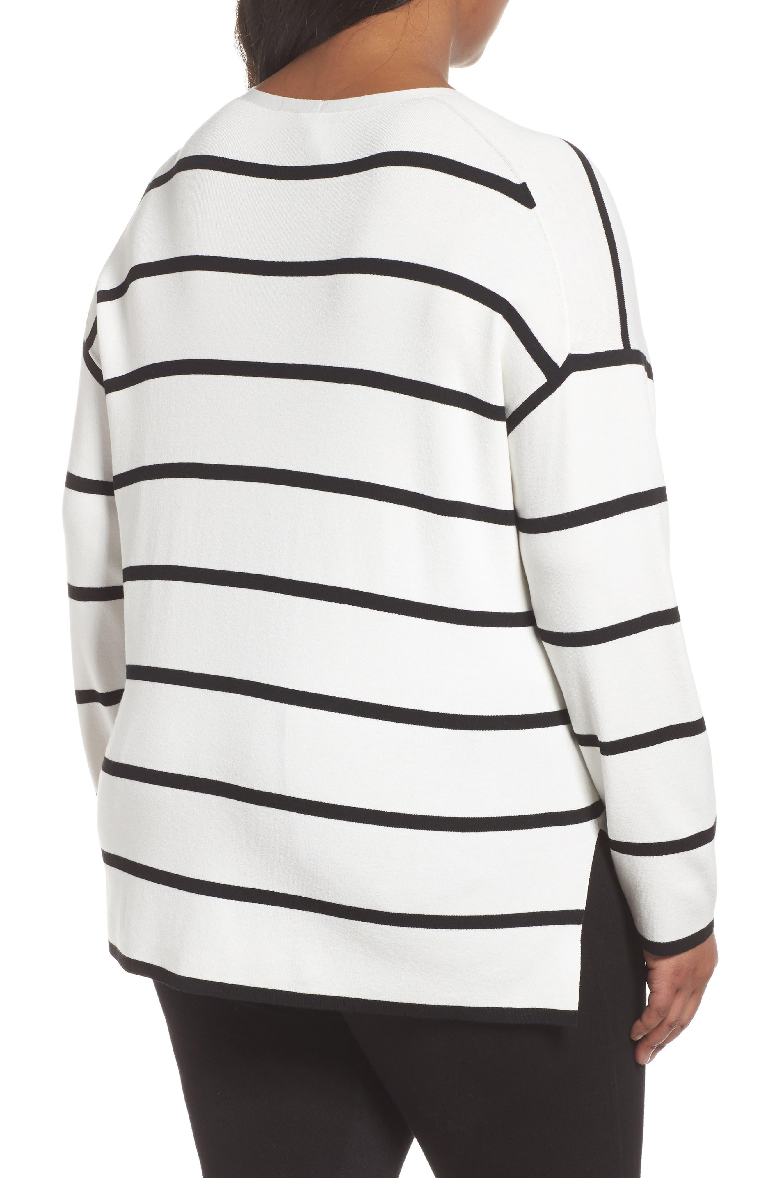 Alternate Image 2  - Lafayette 148 New York Stripe Sweater (Plus Size)