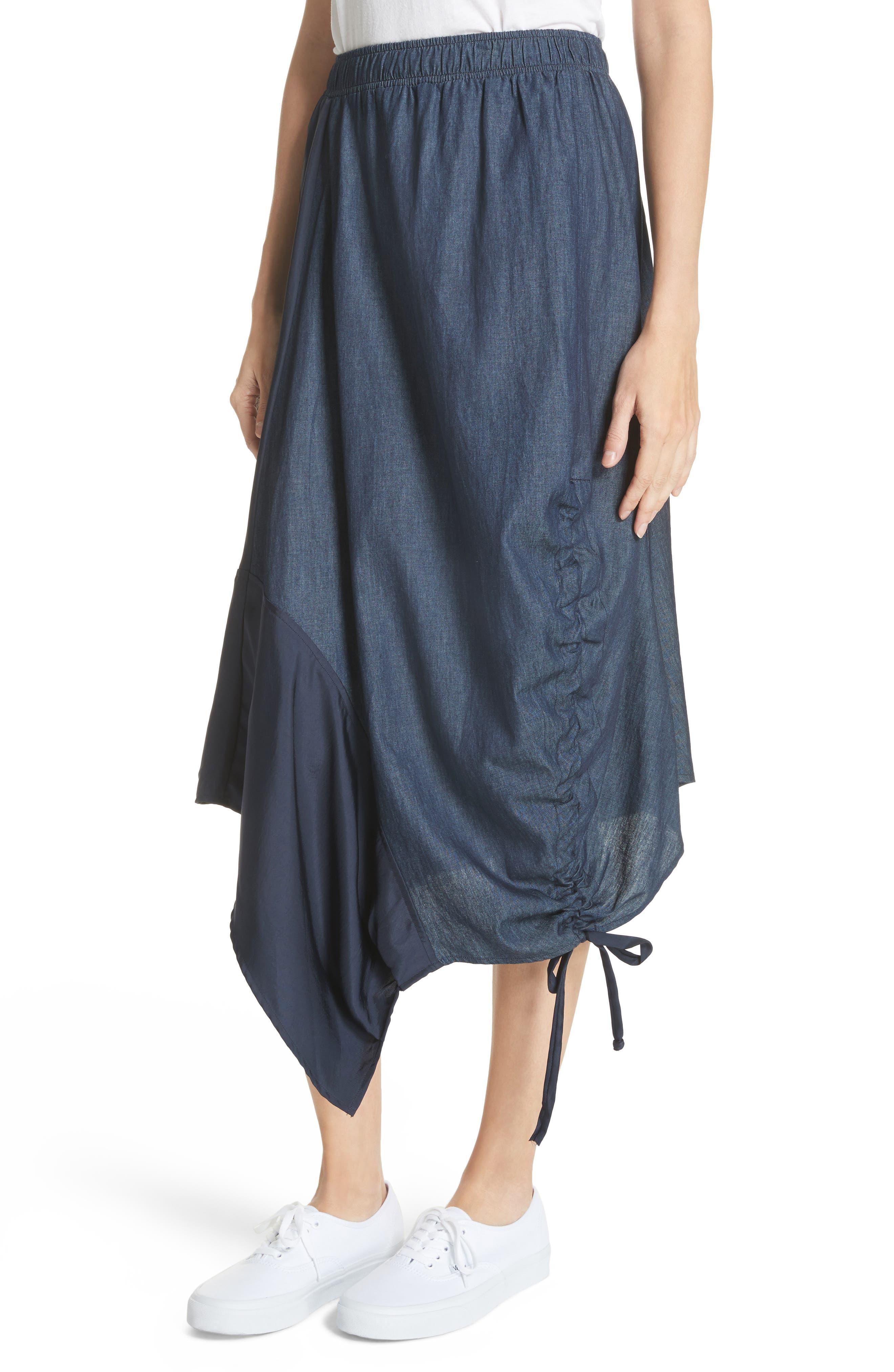 Asymmetrical Mixed Media Skirt,                             Alternate thumbnail 4, color,                             Navy