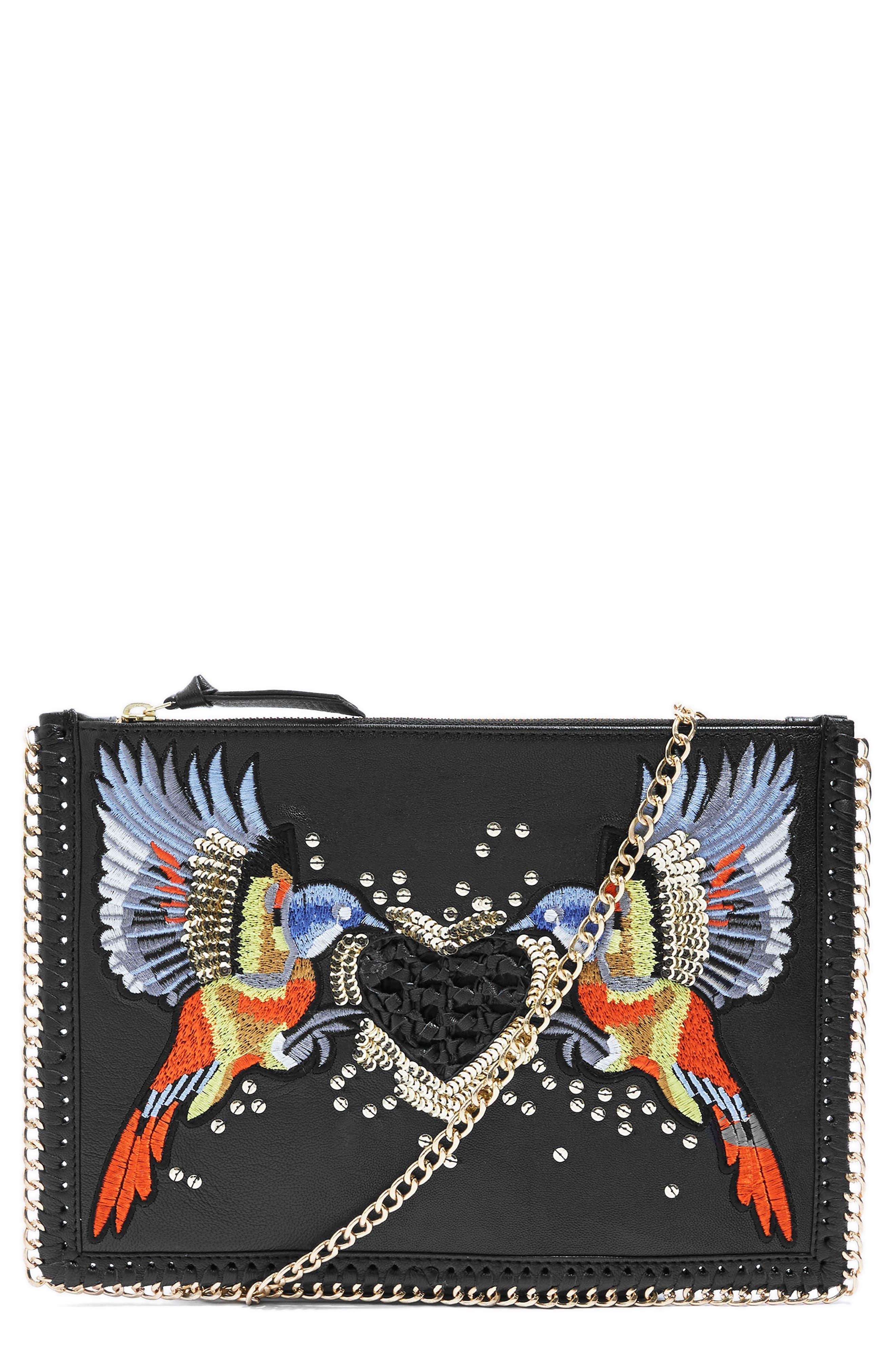Topshop Embellished Leather Shoulder Bag