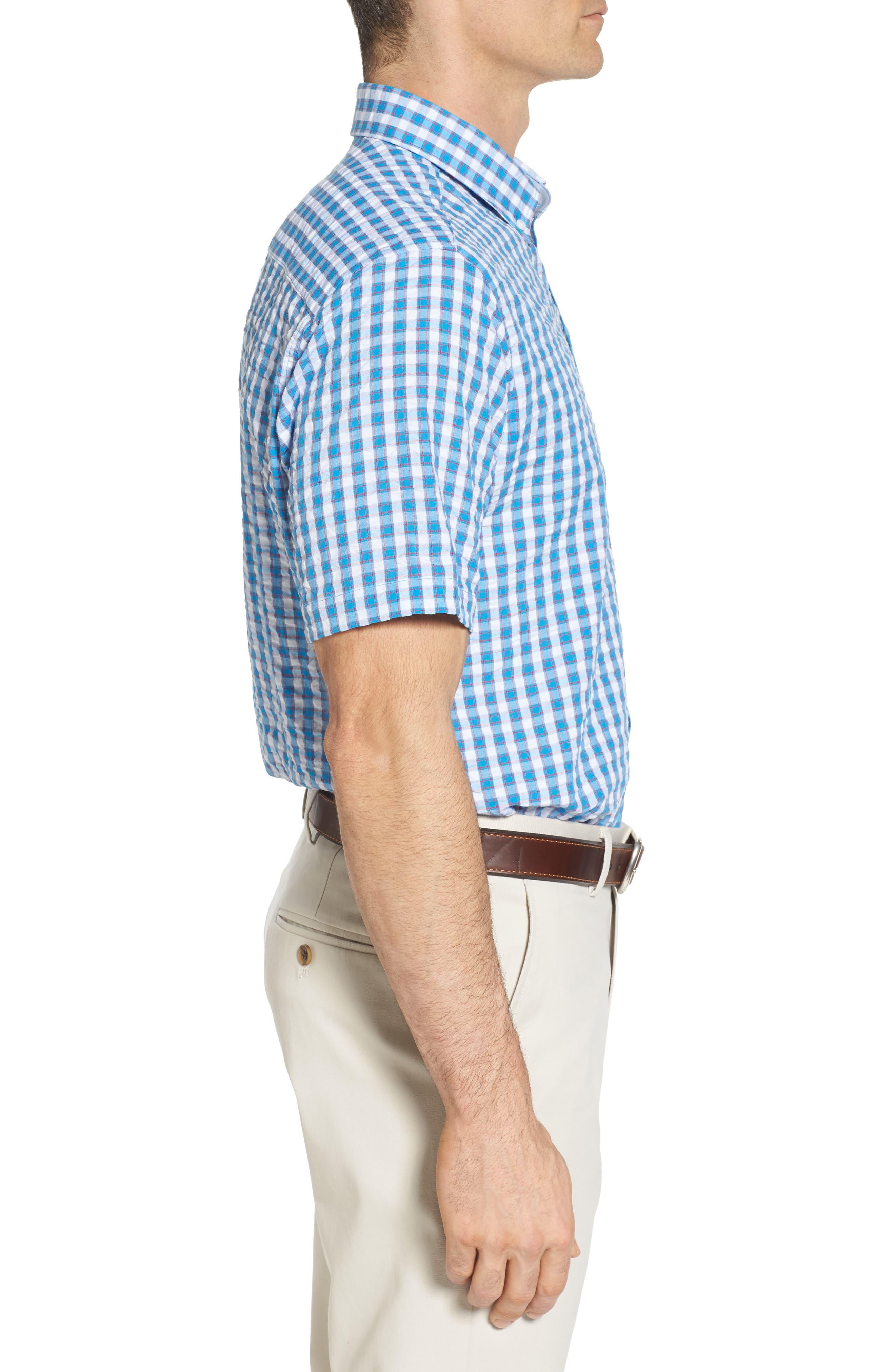 Tyler Classic Fit Seersucker Sport Shirt,                             Alternate thumbnail 3, color,                             Poolside