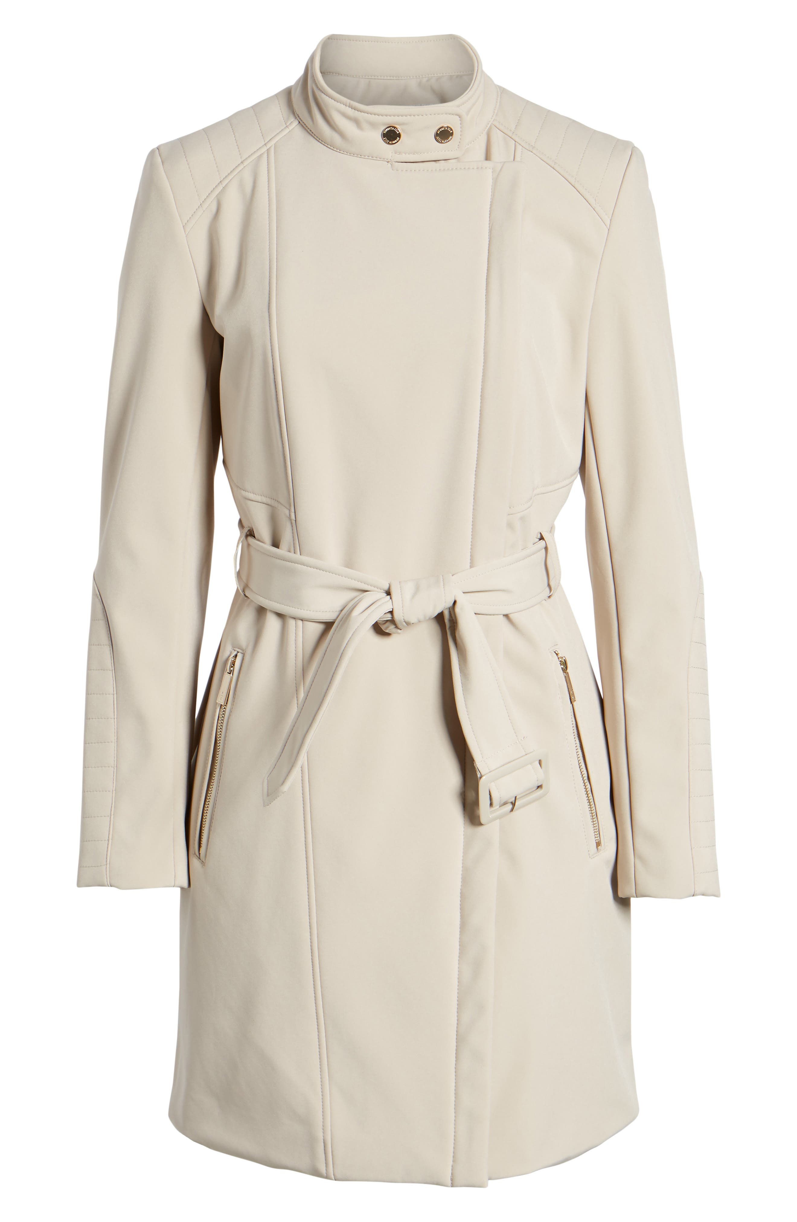 Asymmetrical Belted Trench Coat,                             Alternate thumbnail 7, color,                             Bone