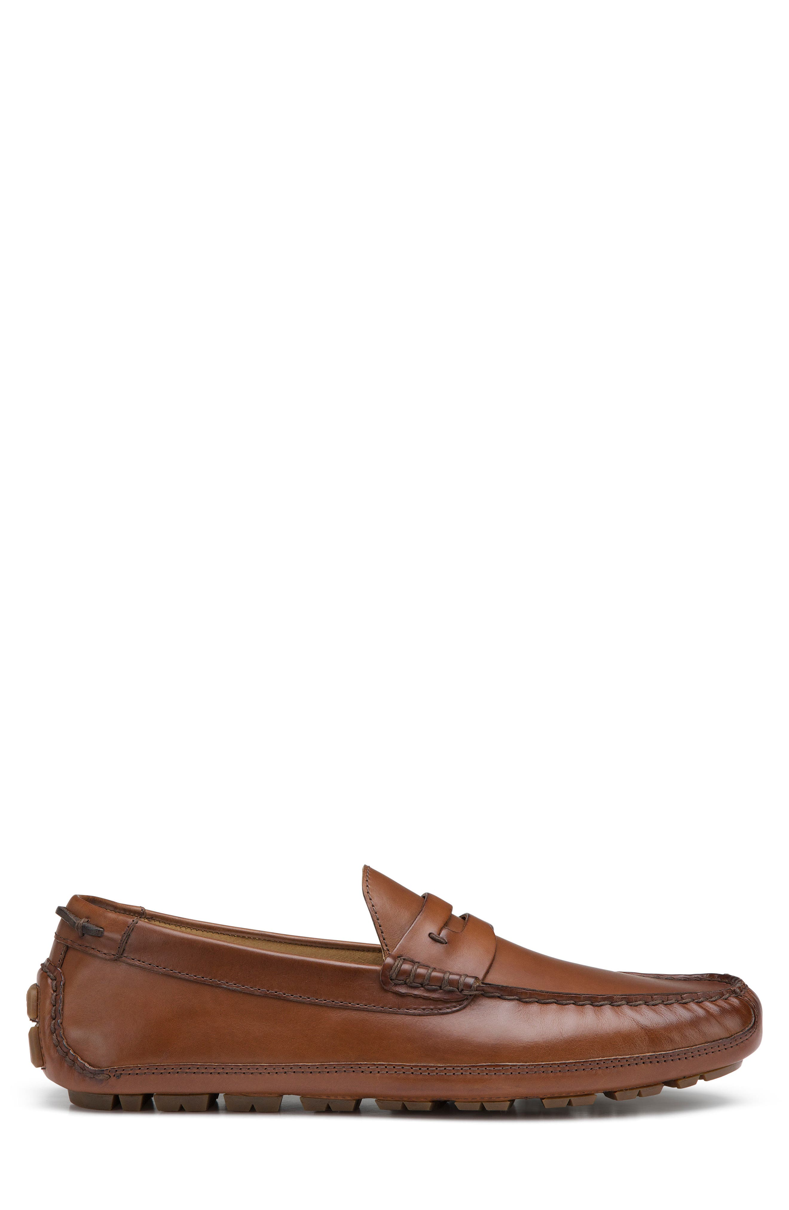 Dawson Water Resistant Driving Loafer,                             Alternate thumbnail 3, color,                             Light Brown Leather
