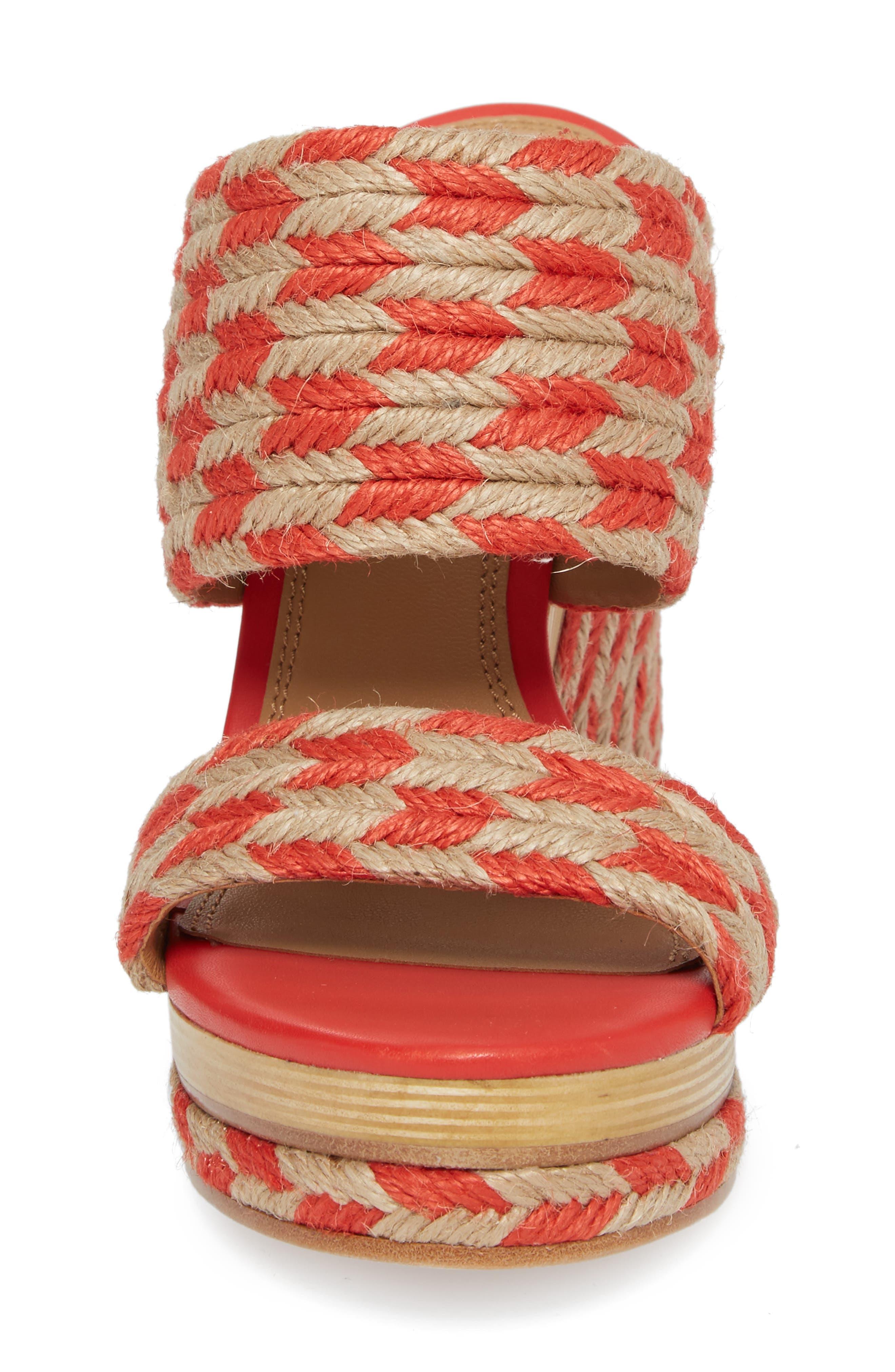 Lola Woven Platform Sandal,                             Alternate thumbnail 5, color,                             Poppy Orange/ Perfect Ivory