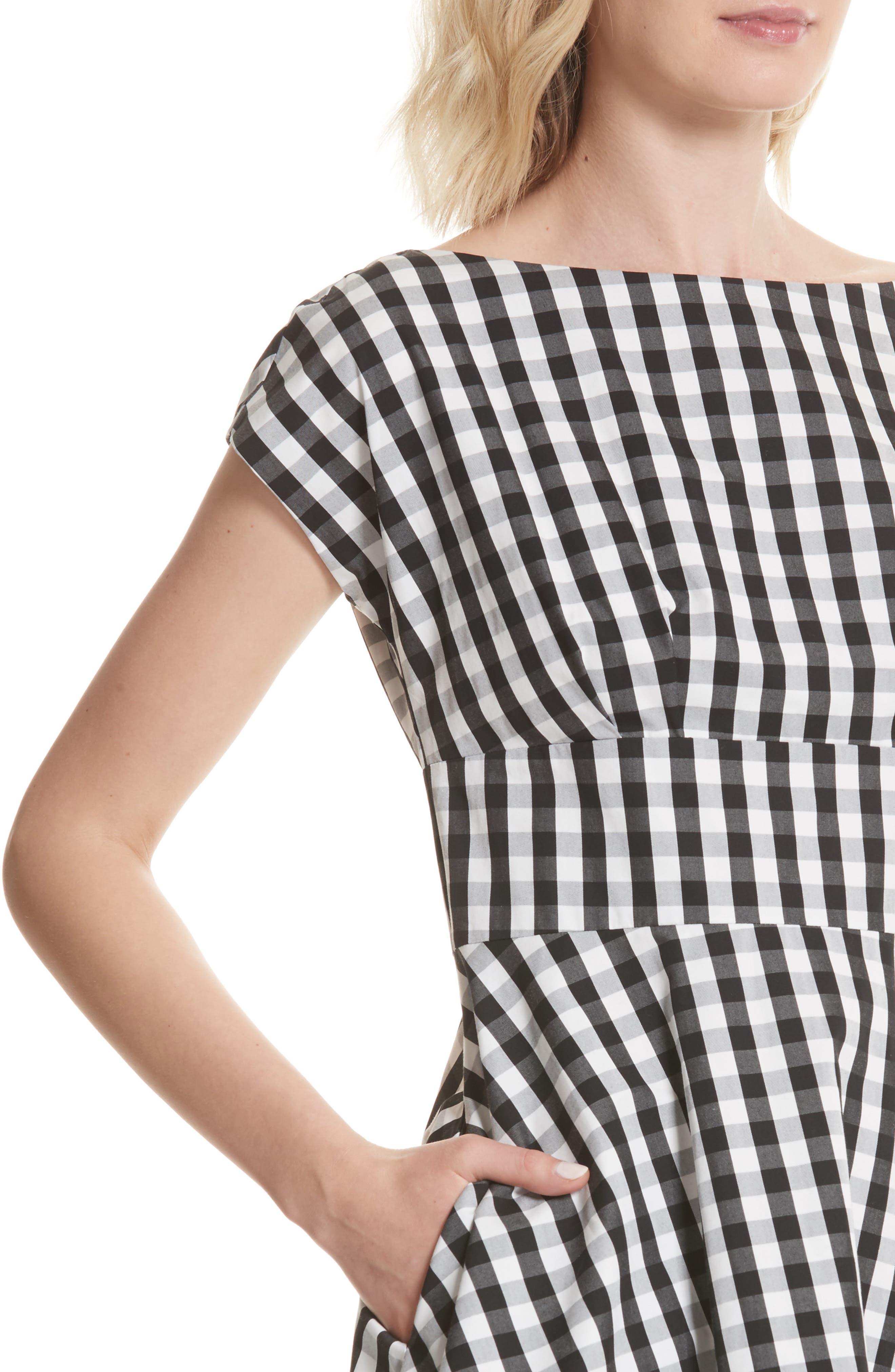 fiorella gingham fit & flare dress,                             Alternate thumbnail 4, color,                             Black