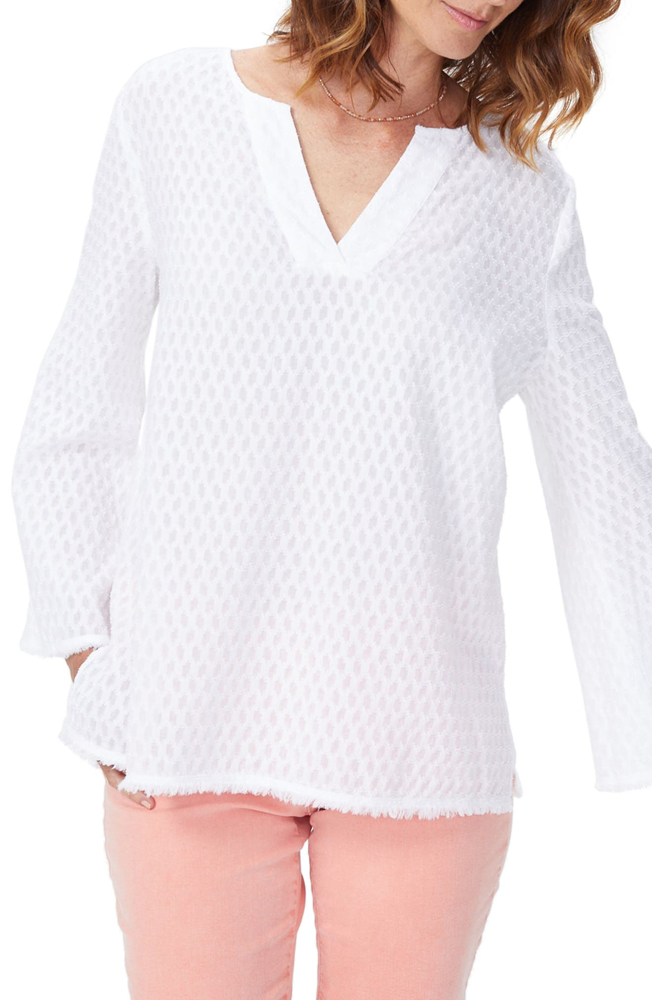 Frayed Edge Bell Sleeve Top,                             Main thumbnail 1, color,                             Optic White