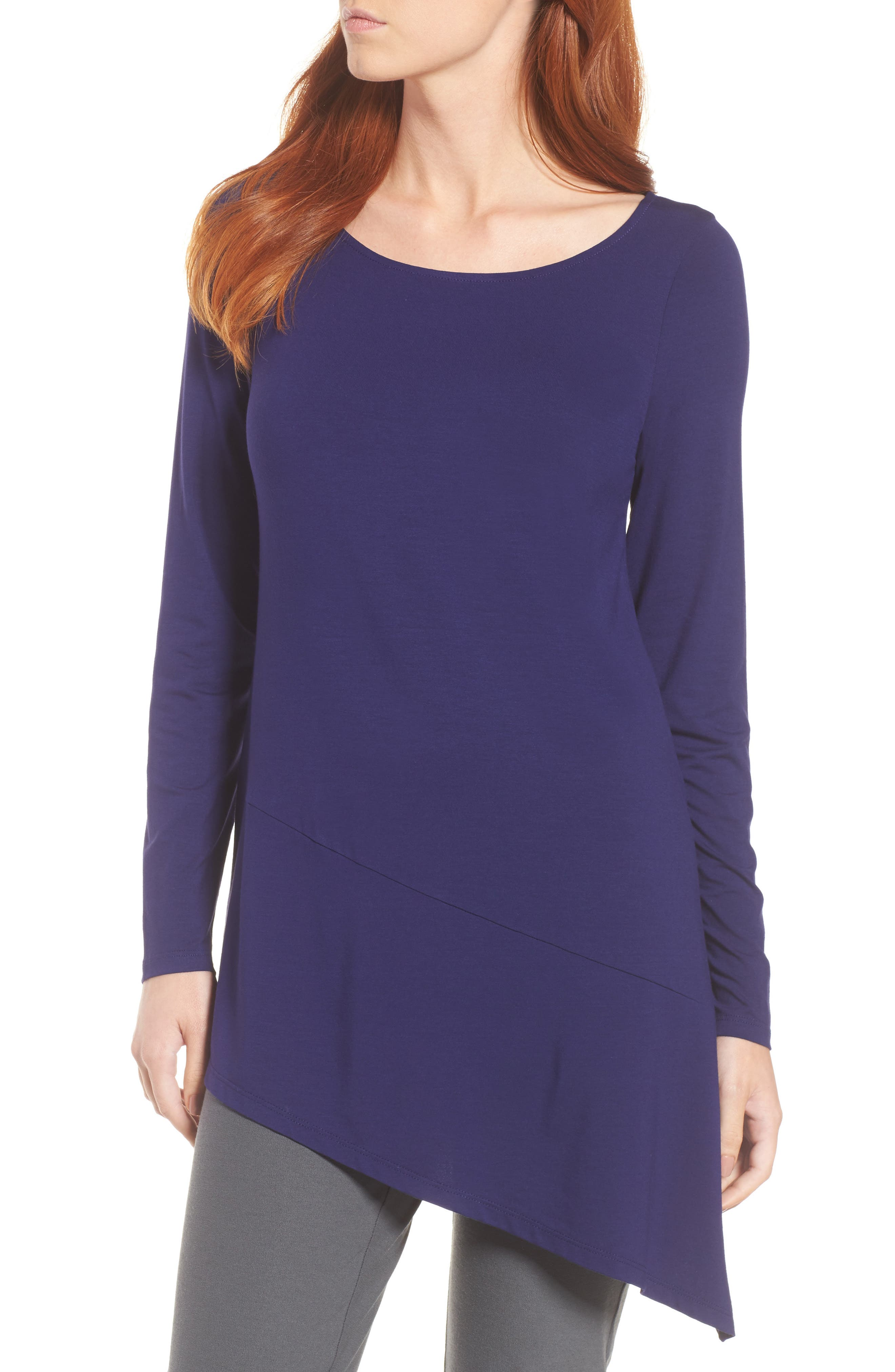Eileen Fisher Bateau Neck Asymmetrical Jersey Tunic (Regular & Petite) (Online Only)