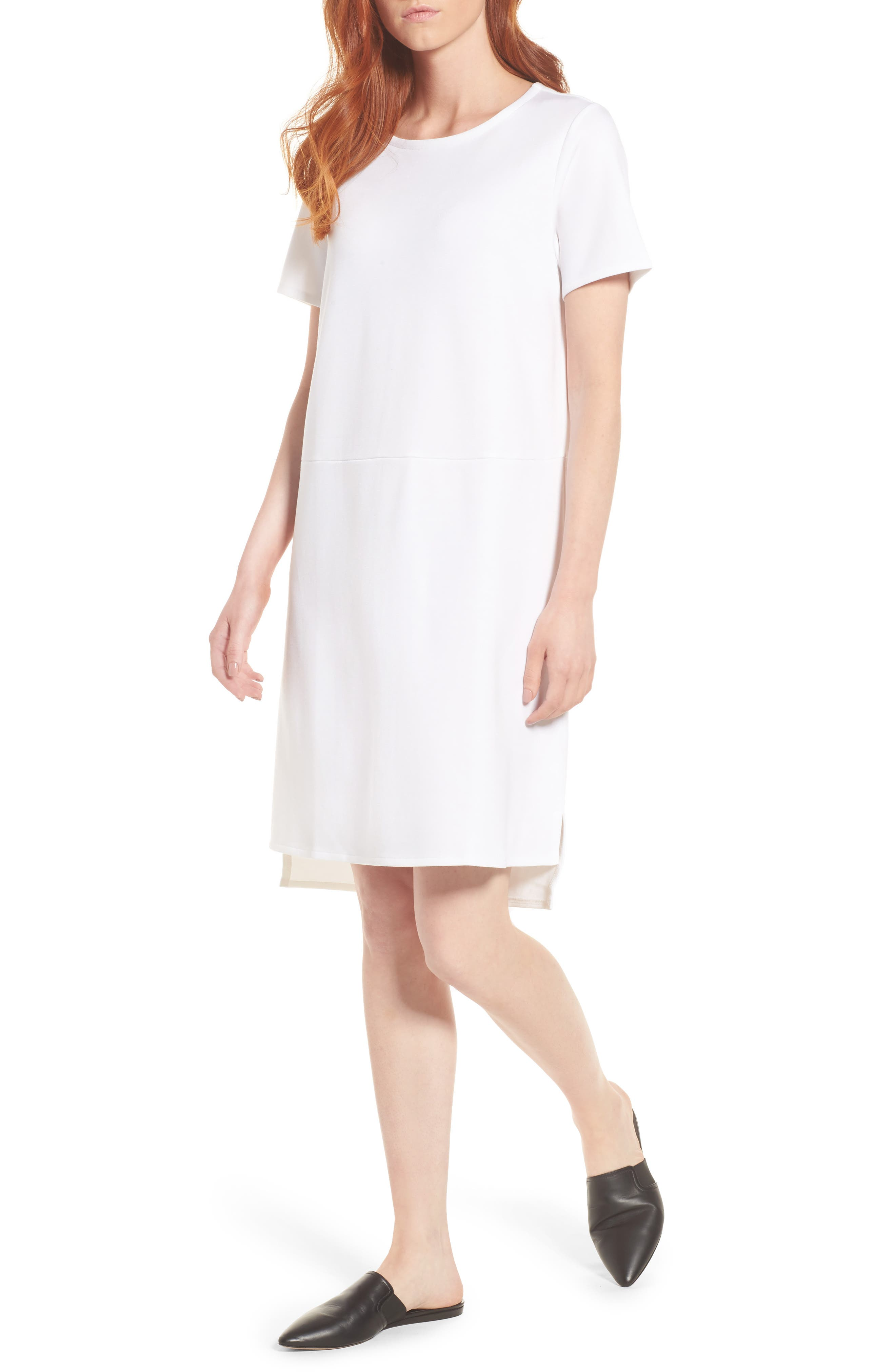 Tencel<sup>®</sup> Lyocell Blend Knit Shift Dress,                         Main,                         color, White