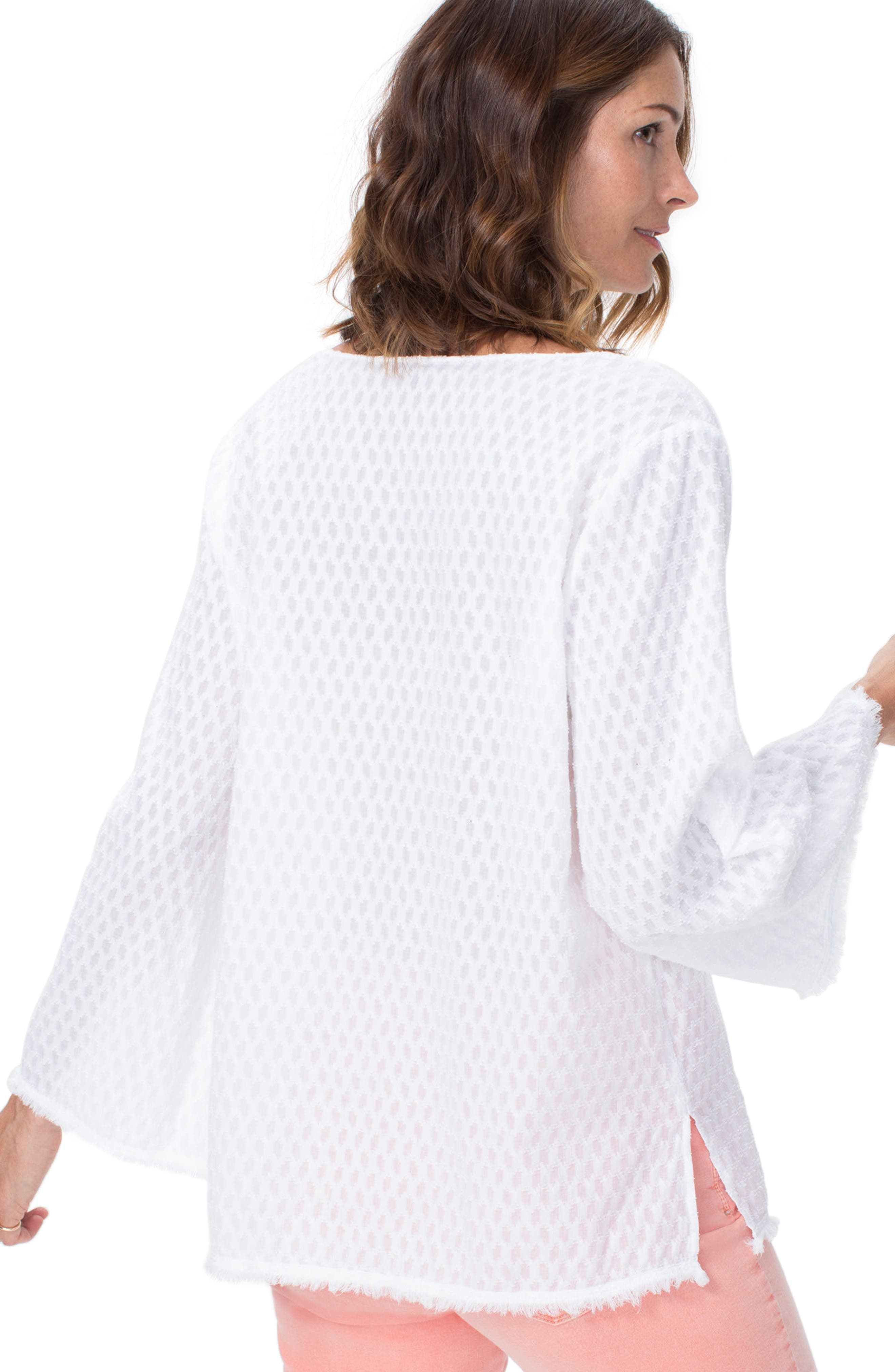 Frayed Edge Bell Sleeve Top,                             Alternate thumbnail 2, color,                             Optic White