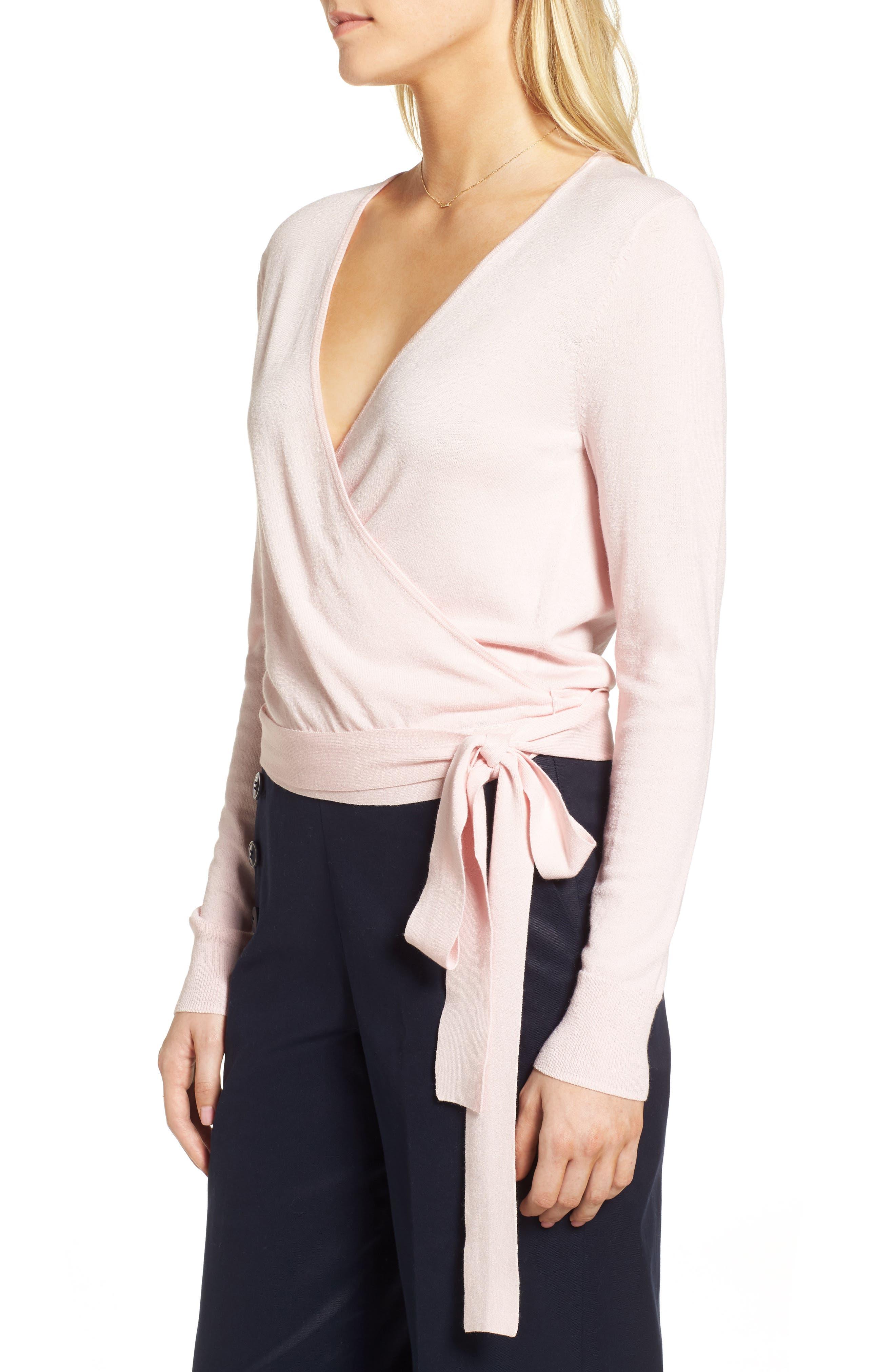 Wrap Sweater,                             Alternate thumbnail 4, color,                             Pink Potpourri