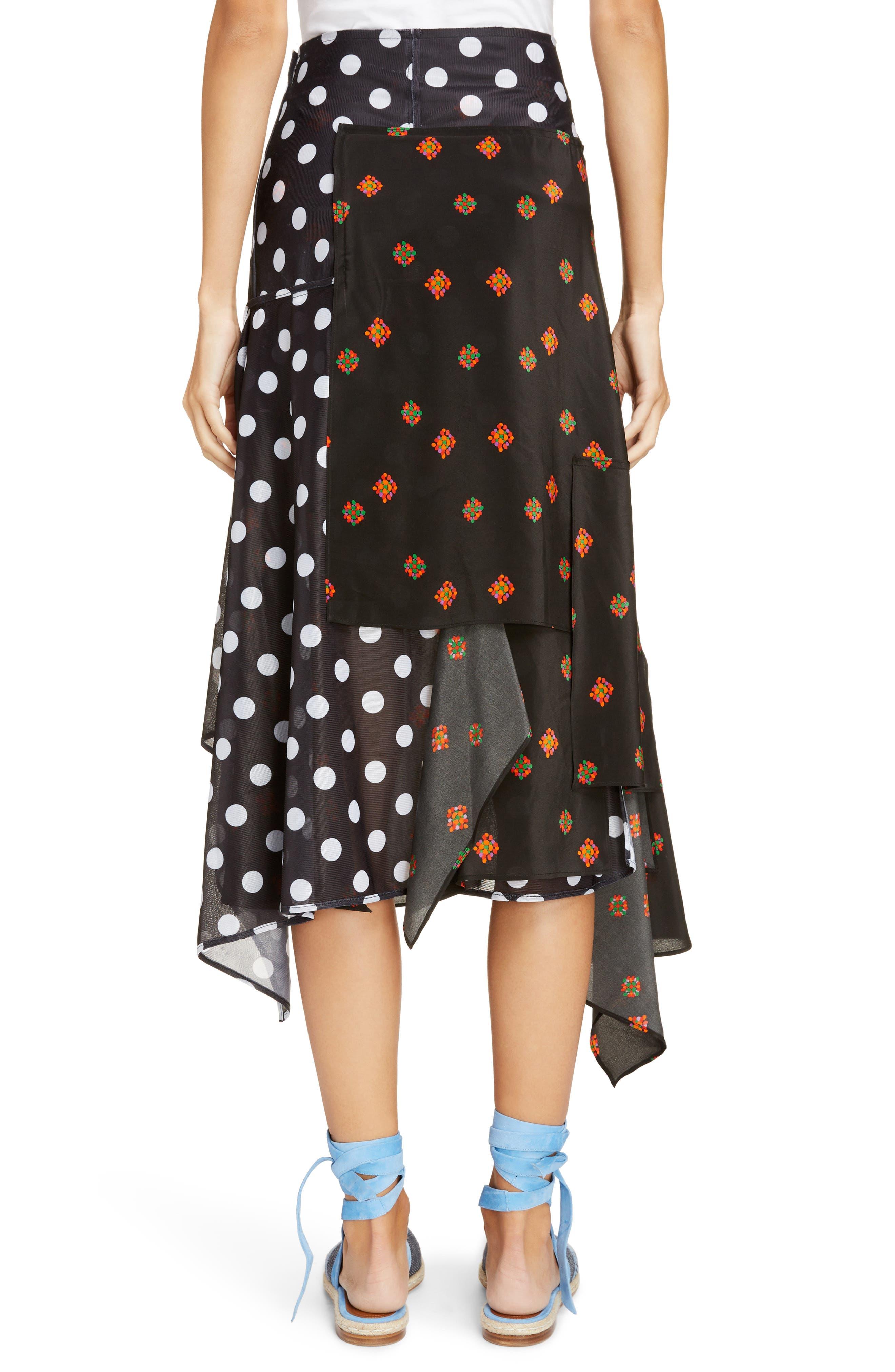 Polka Dot & Floral Panel Skirt,                             Alternate thumbnail 2, color,                             Black