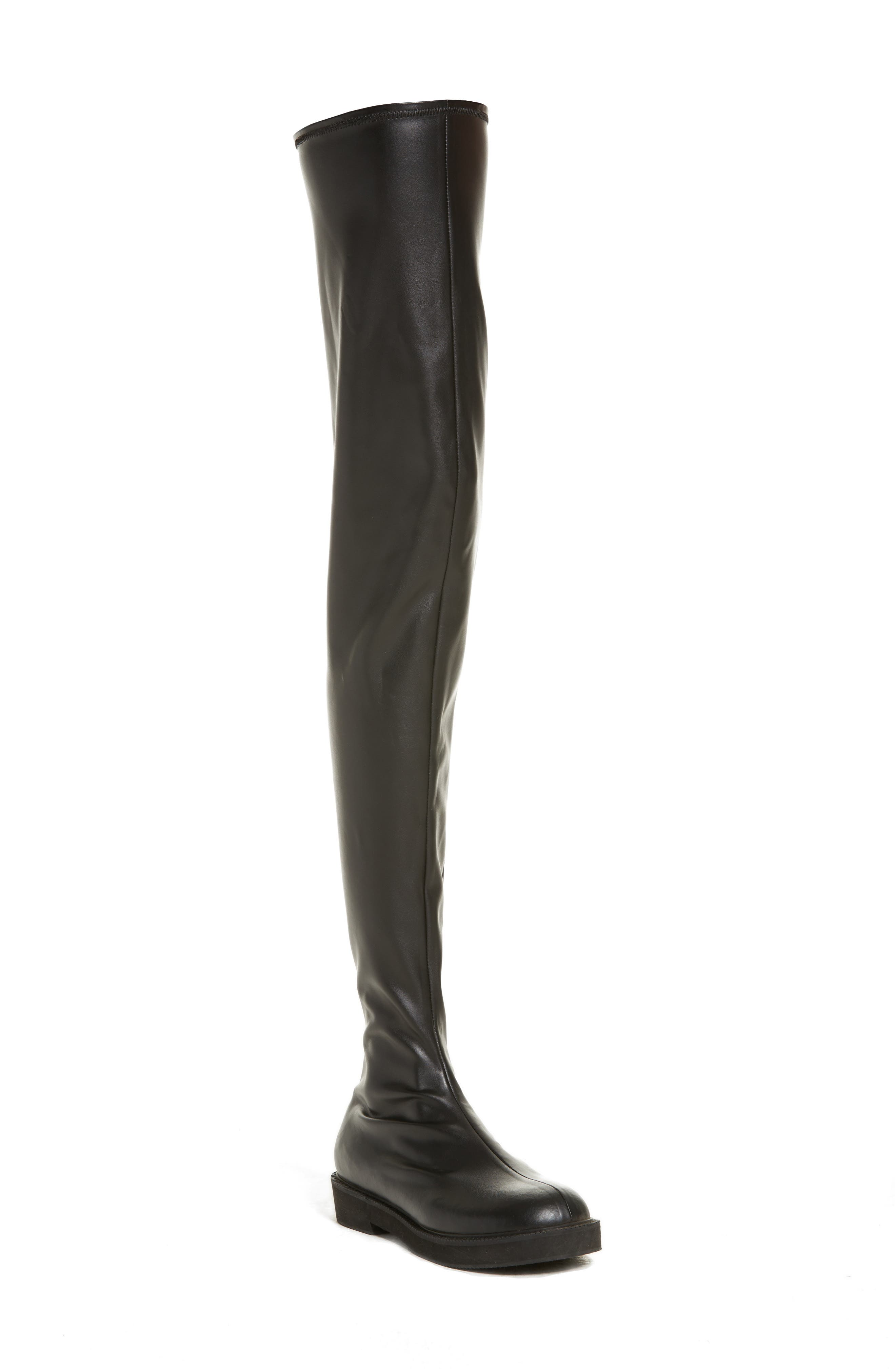 Faux Leather Over the Knee Boot,                             Main thumbnail 1, color,                             Black