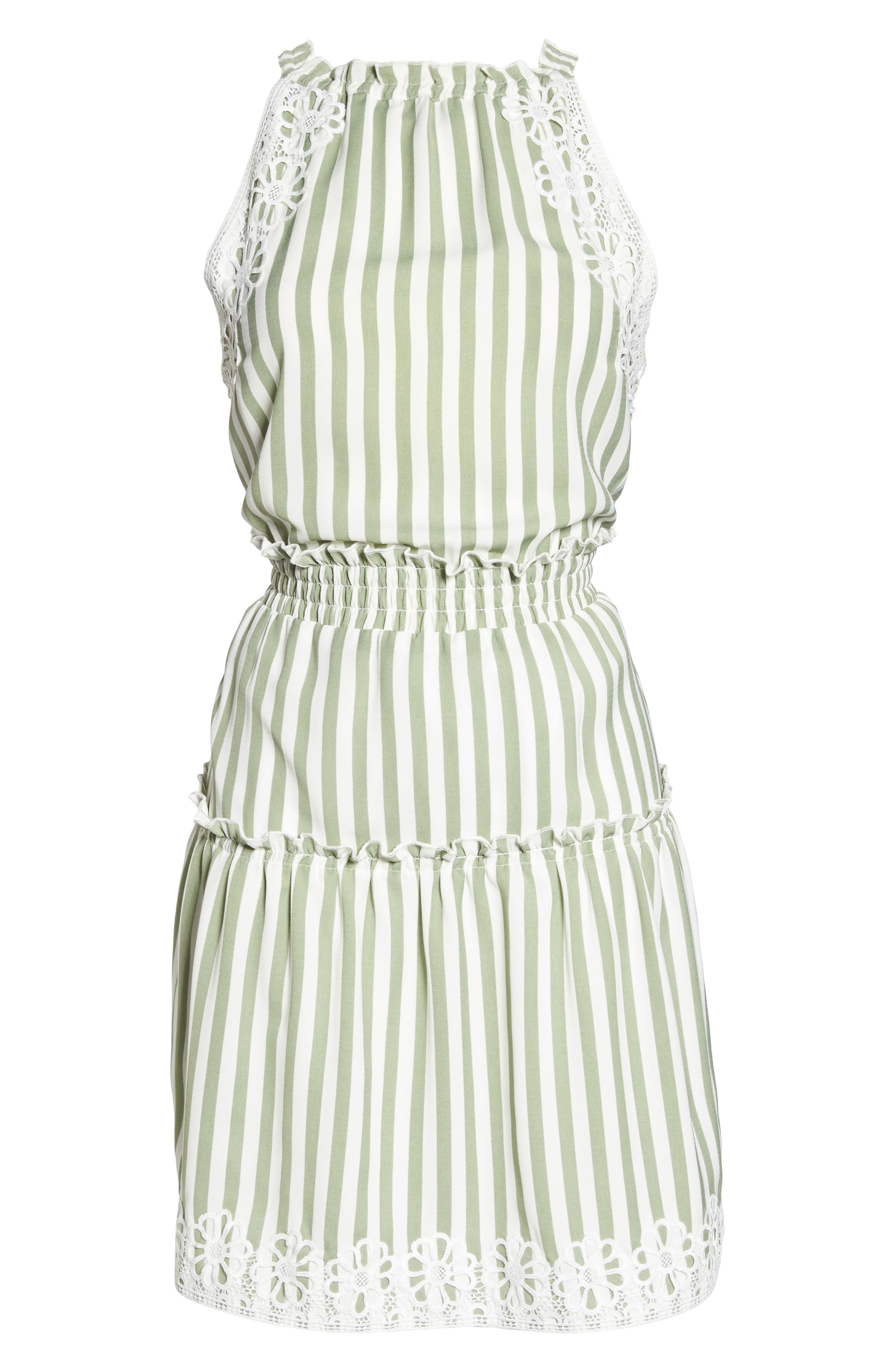 Lauren Stripe Sleeveless Fit & Flare Dress,                             Alternate thumbnail 6, color,                             Sage