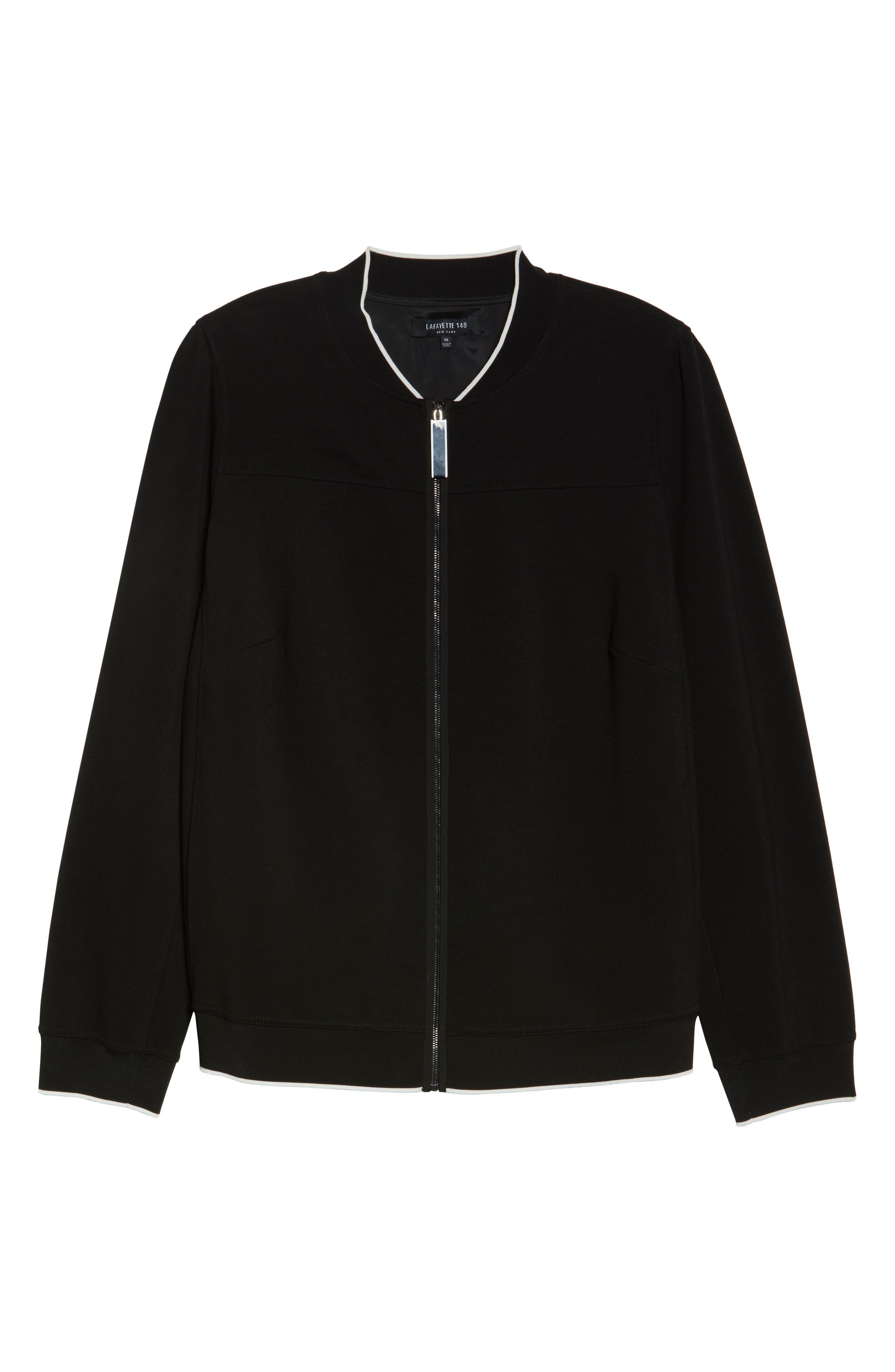 Alison Zip Front Jacket,                             Alternate thumbnail 6, color,                             Black