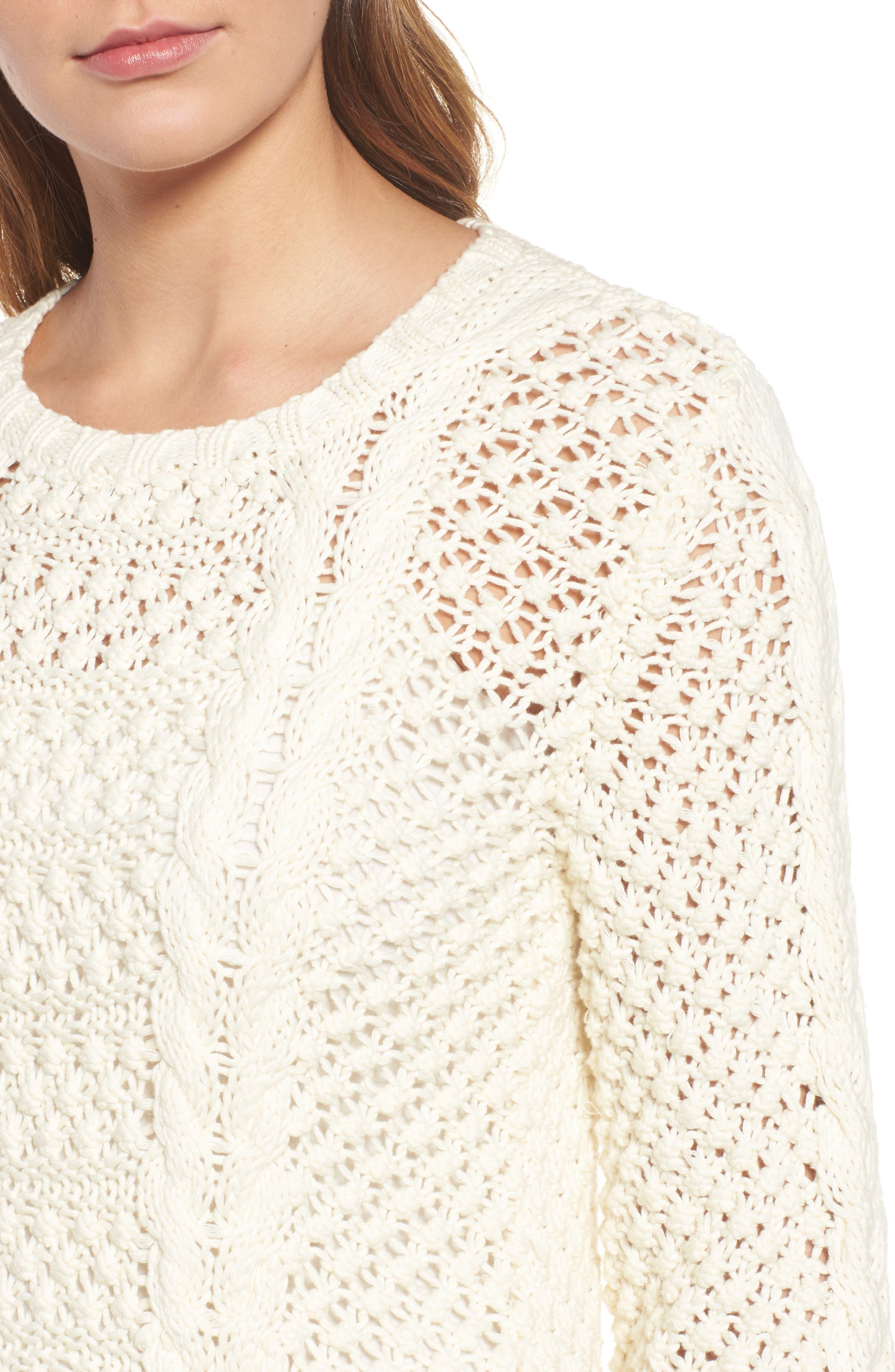 Popcorn Cable Sweater,                             Alternate thumbnail 4, color,                             Milk White