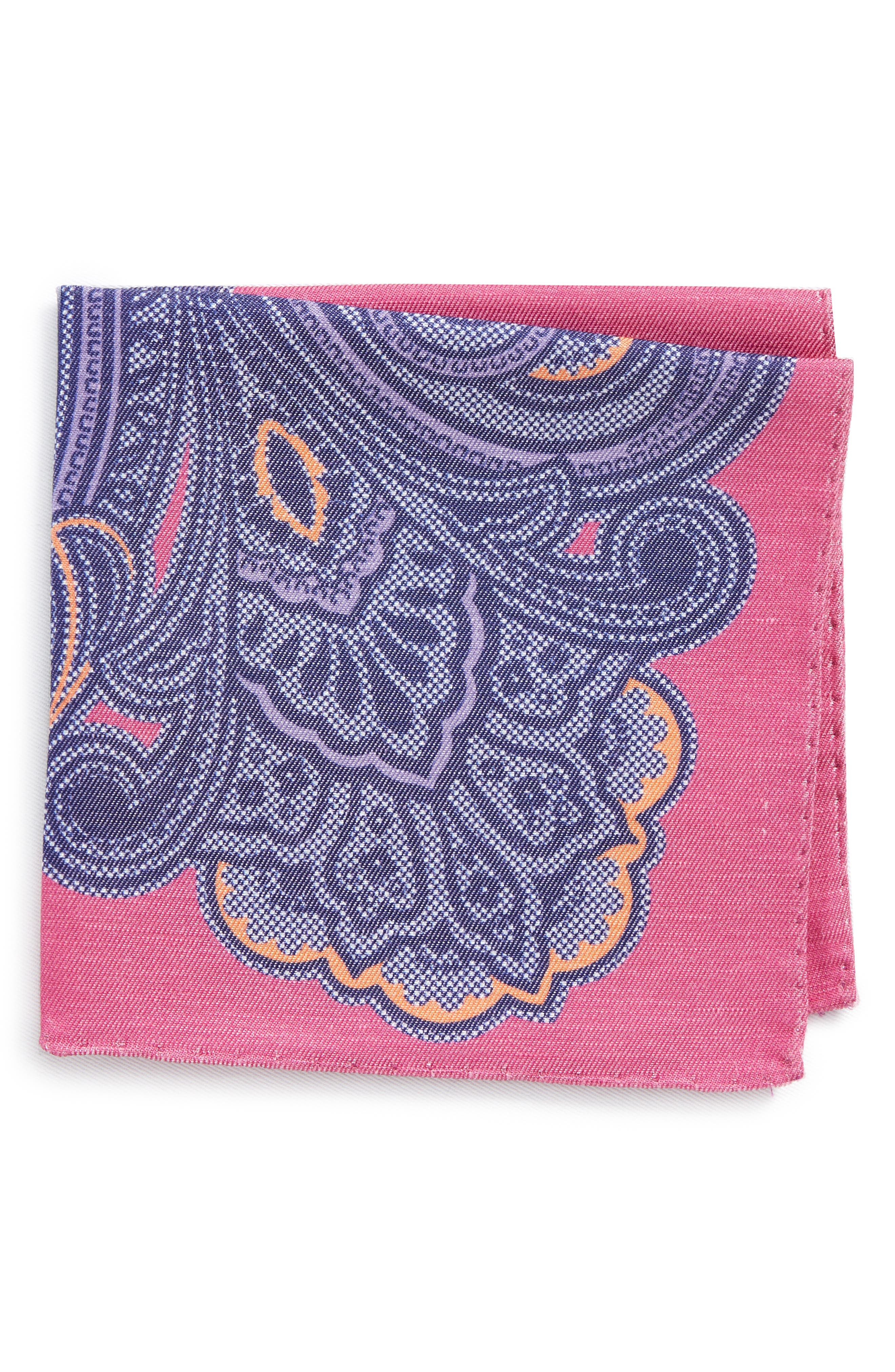 Paisley Linen & Silk Pocket Square,                             Main thumbnail 1, color,                             Pink