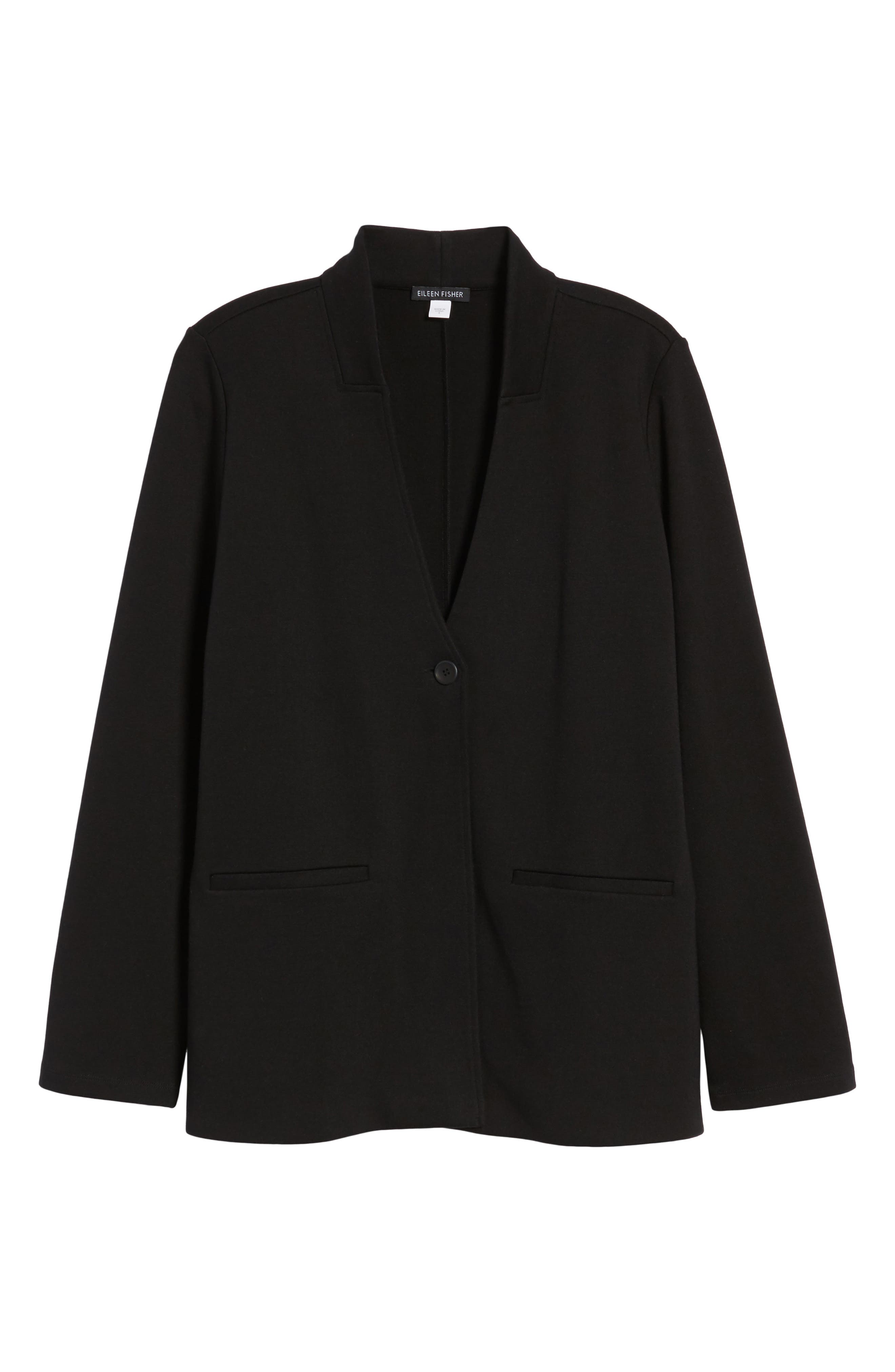 Tencel<sup>®</sup> Lyocell Blend Knit Blazer,                             Alternate thumbnail 6, color,                             Black