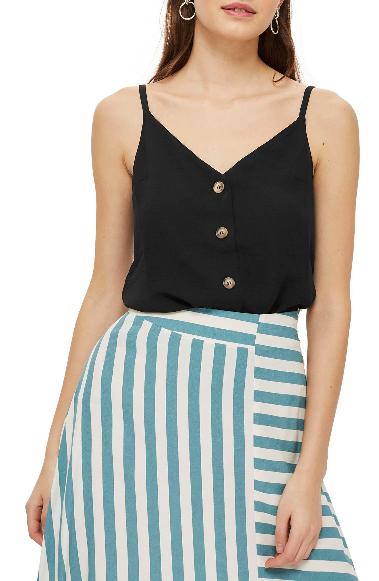 Button Front Camisole,                             Main thumbnail 1, color,                             Black