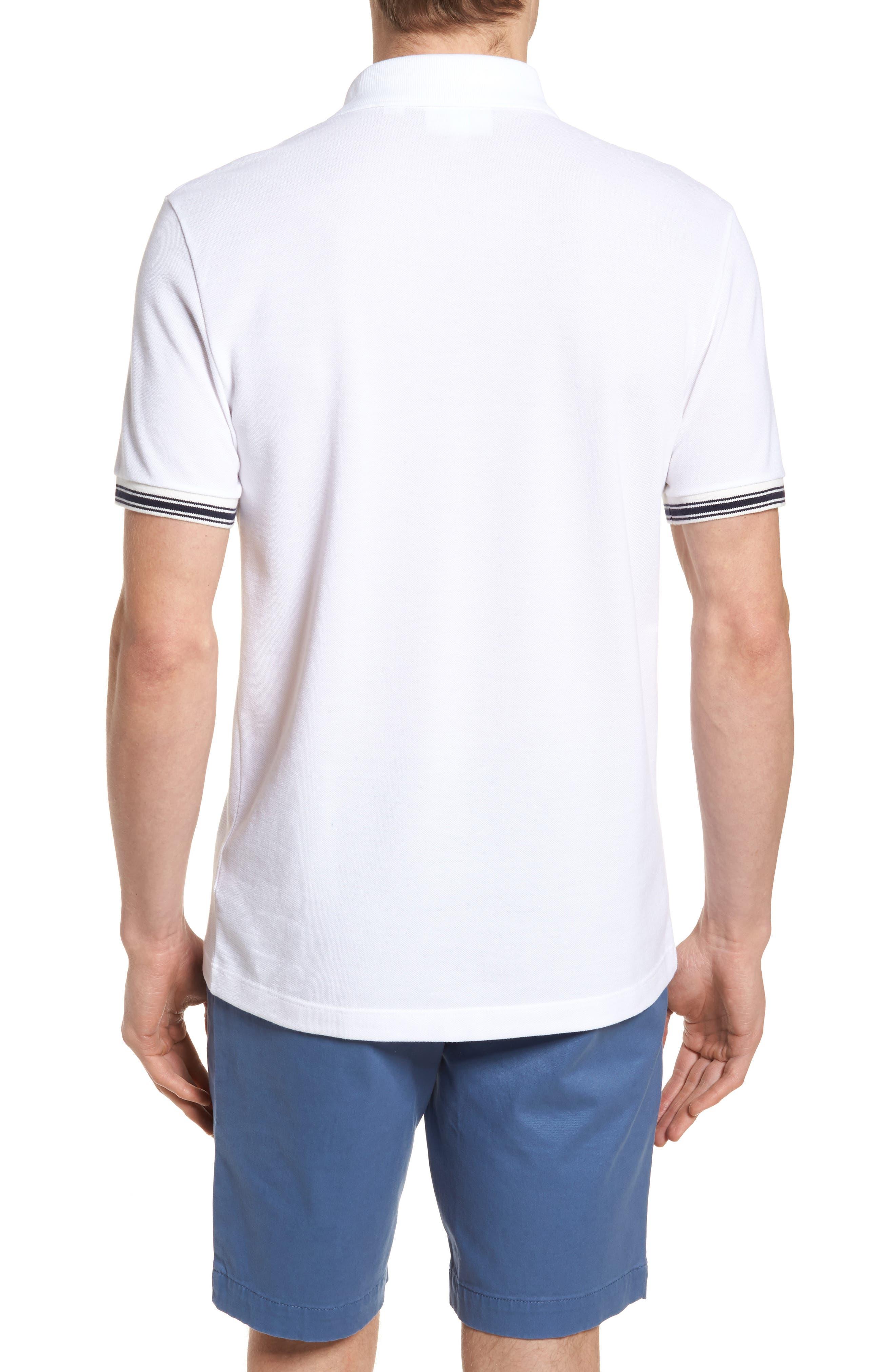 Slim Fit Stripe Sleeve Cotton Polo,                             Alternate thumbnail 2, color,                             White