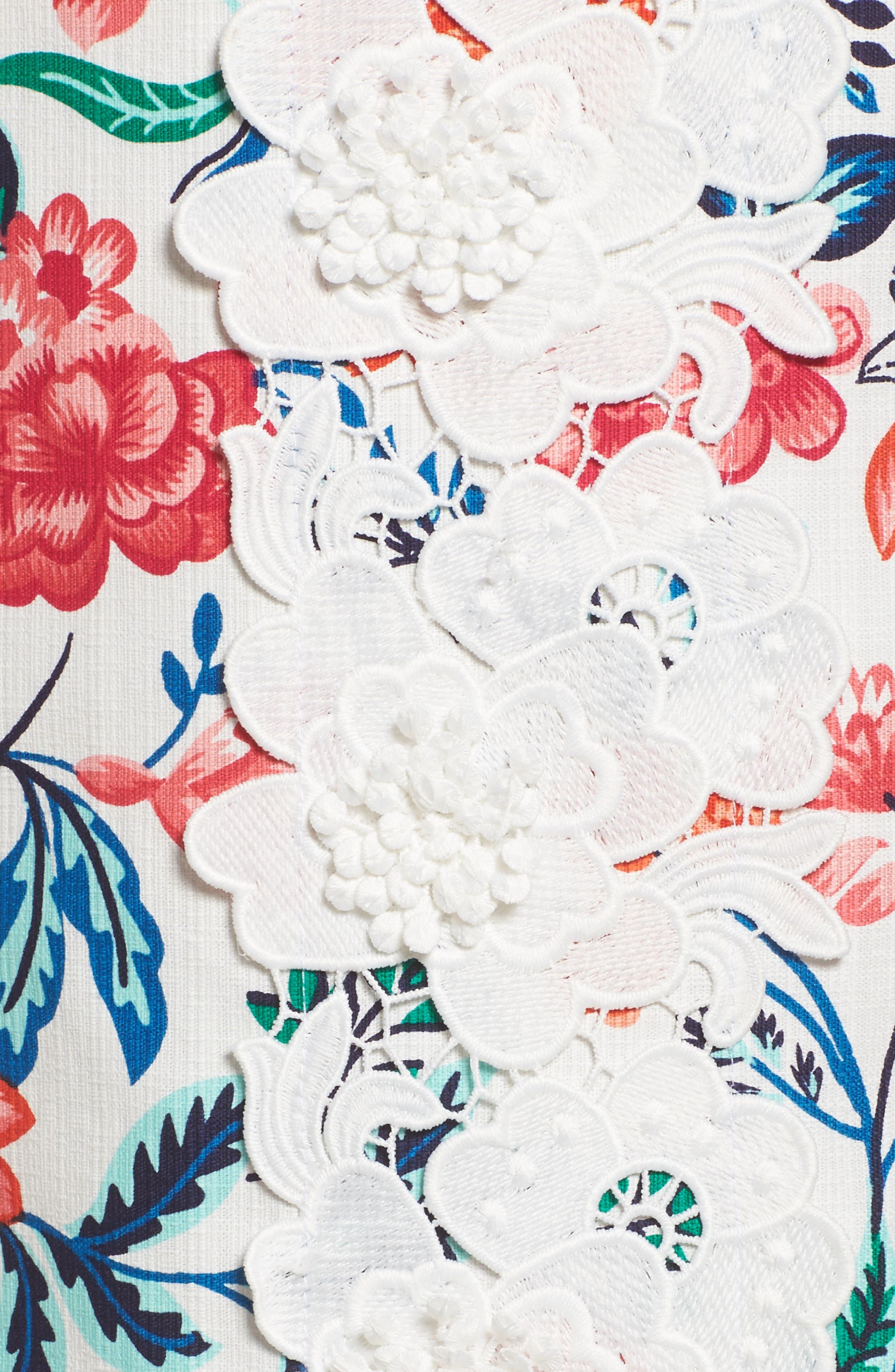 Floral Print Shift Dress,                             Alternate thumbnail 5, color,                             White