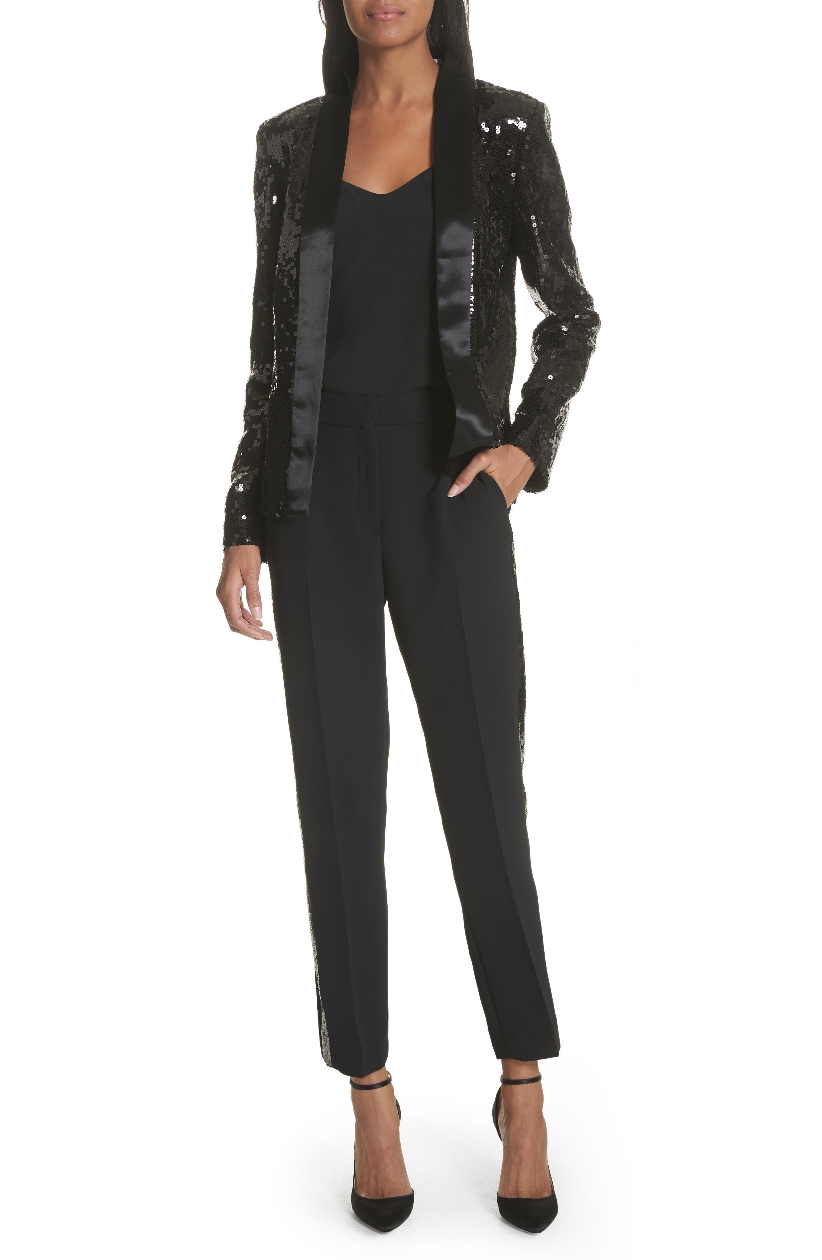 Sequin Tuxedo Jacket,                             Alternate thumbnail 7, color,                             Black