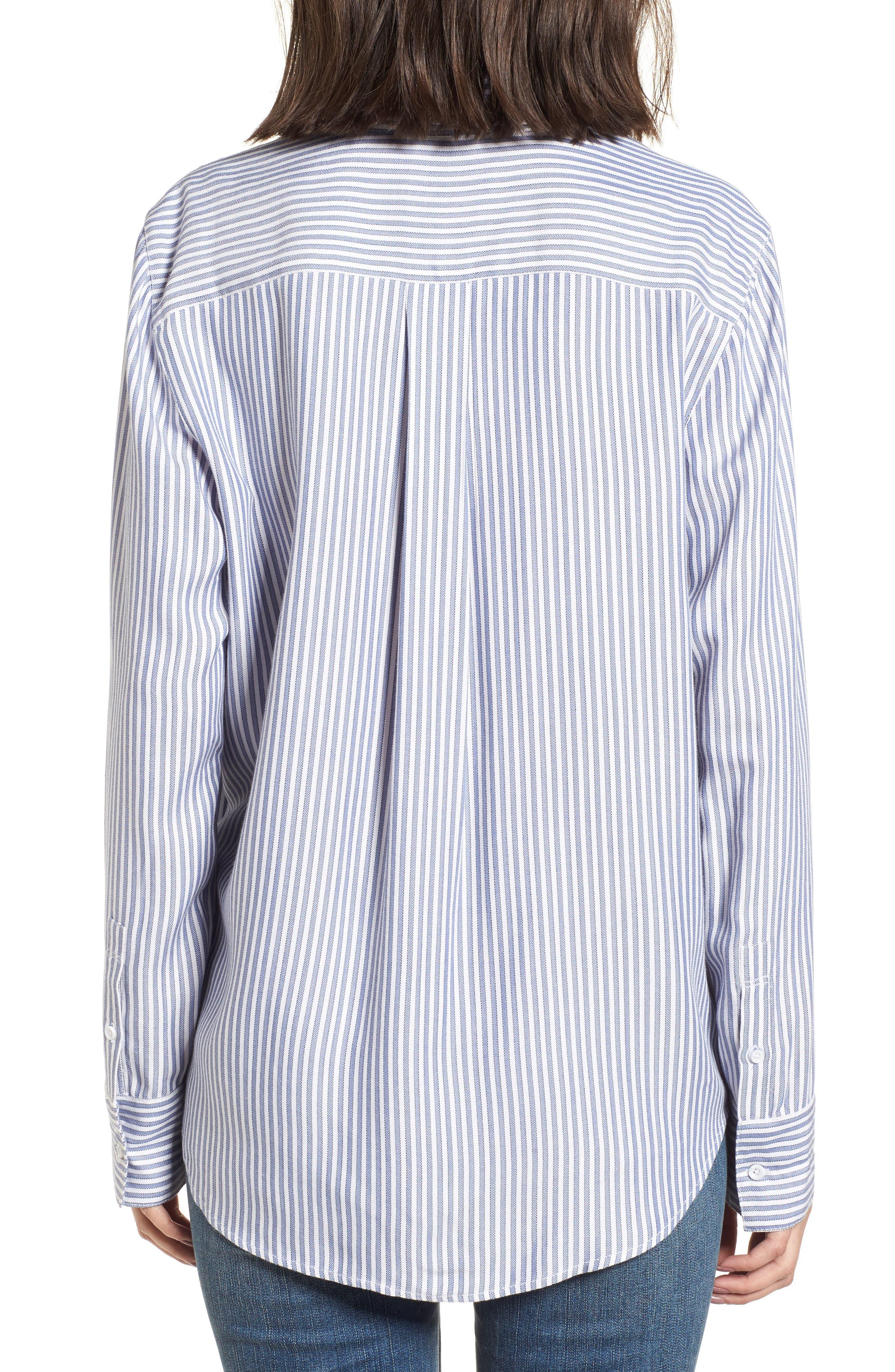 Stripe Ruffle Shirt,                             Alternate thumbnail 2, color,                             White Double Oxford Stripe
