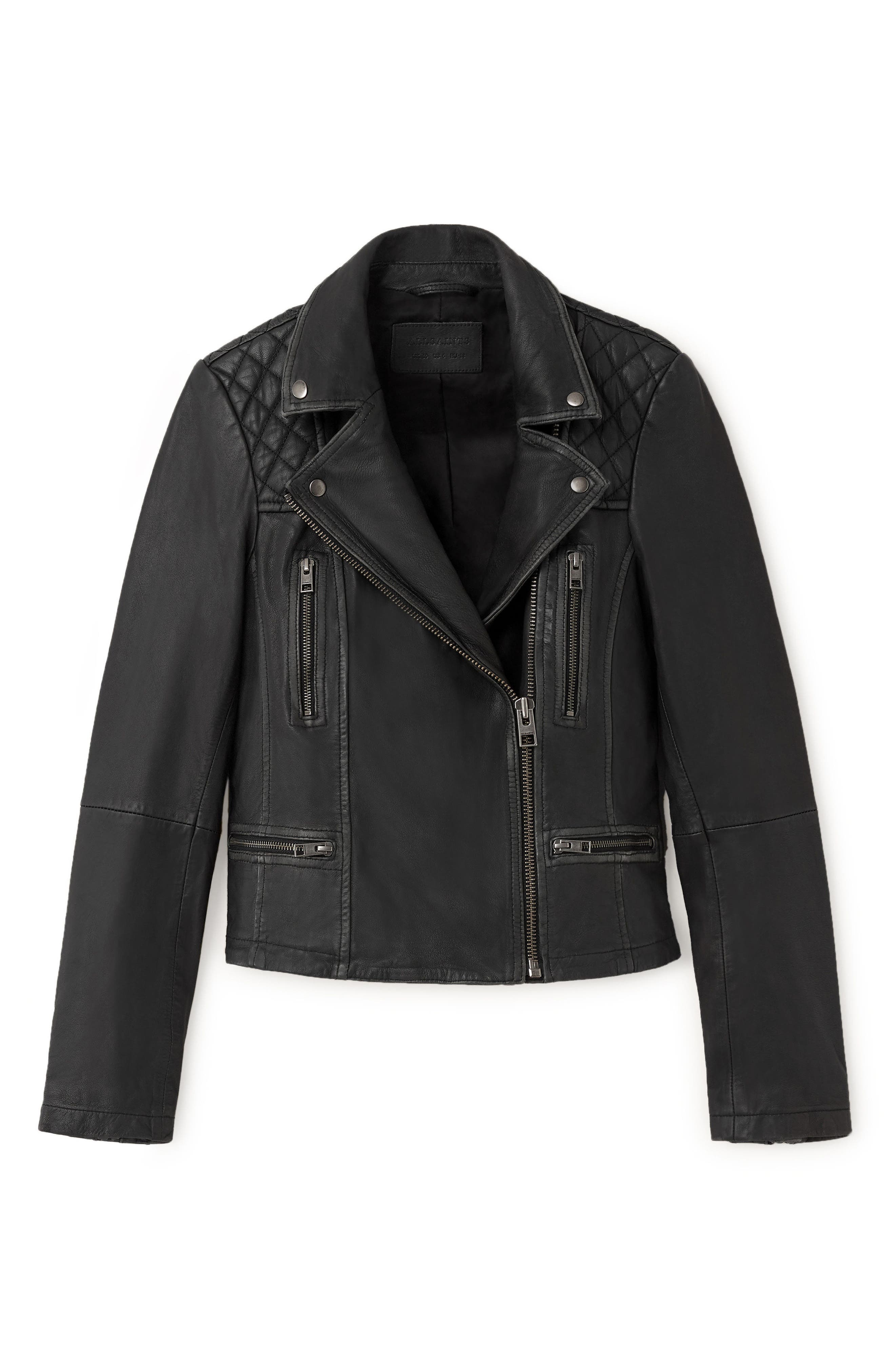 Cargo Leather Biker Jacket,                             Alternate thumbnail 6, color,                             Black/ Grey