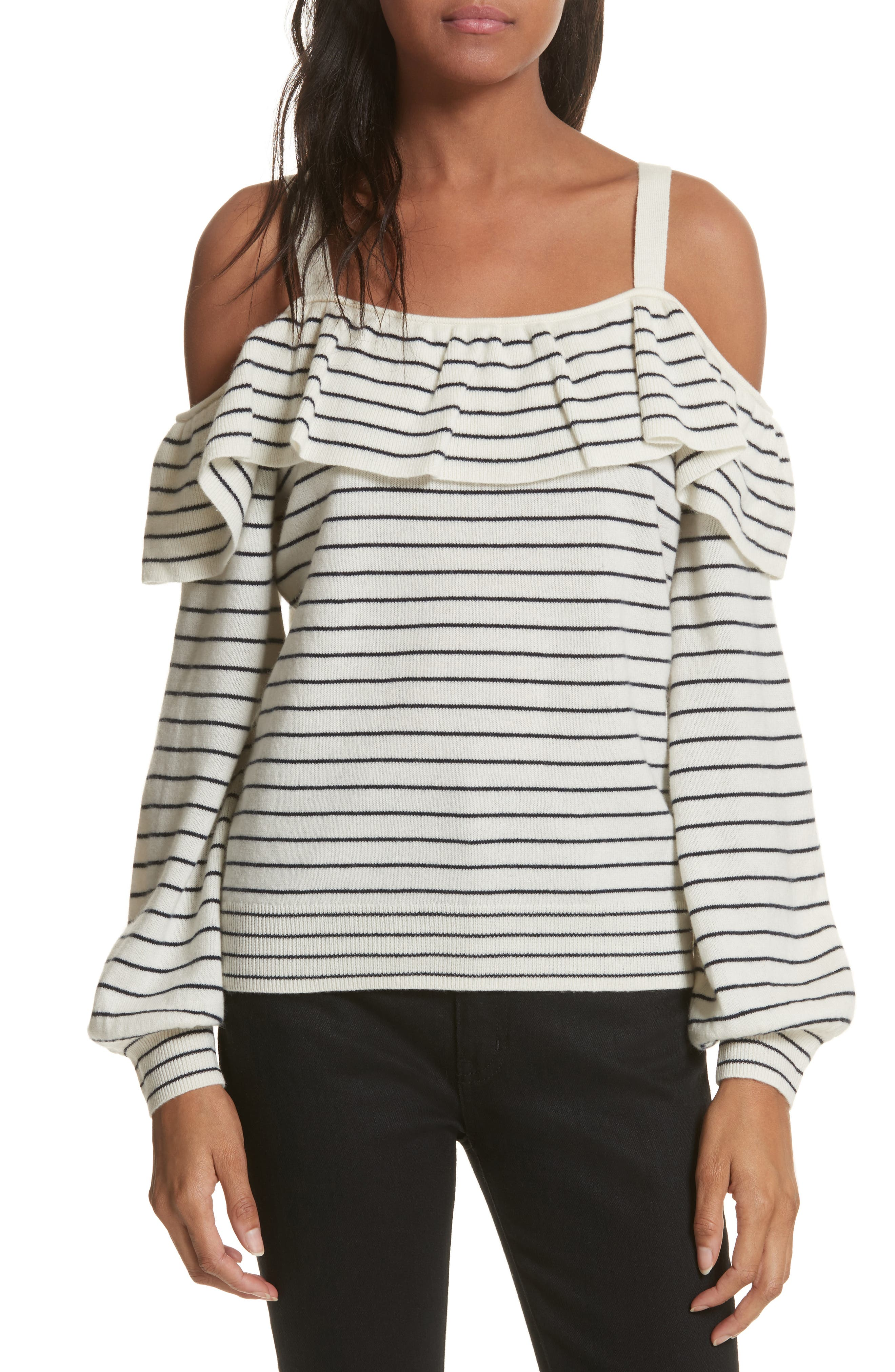 Delbin B Stripe Cold Shoulder Sweater,                             Main thumbnail 1, color,                             Porcelain/ Midnight
