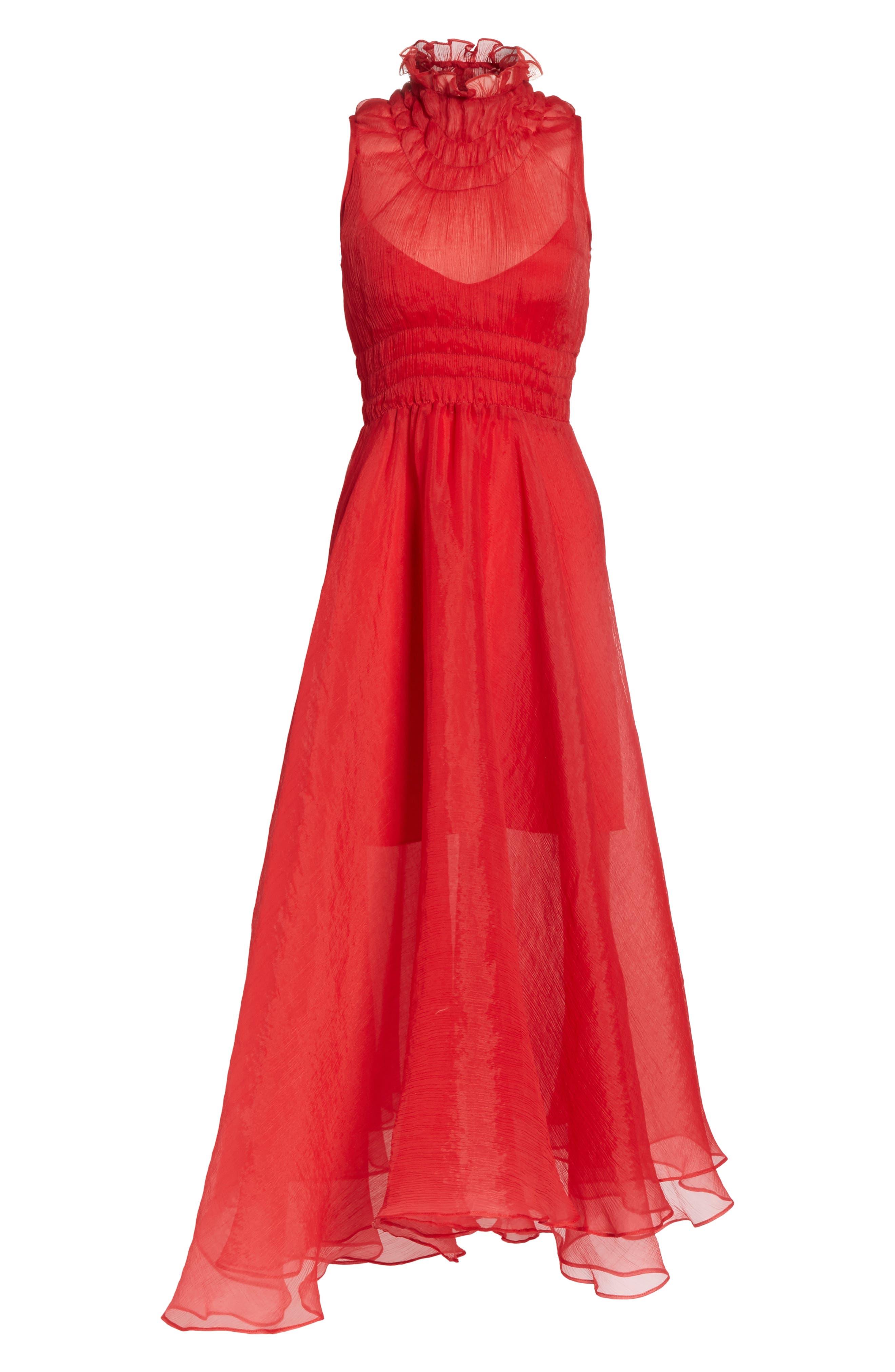 Venus Chiffon Dress,                             Alternate thumbnail 6, color,                             Red
