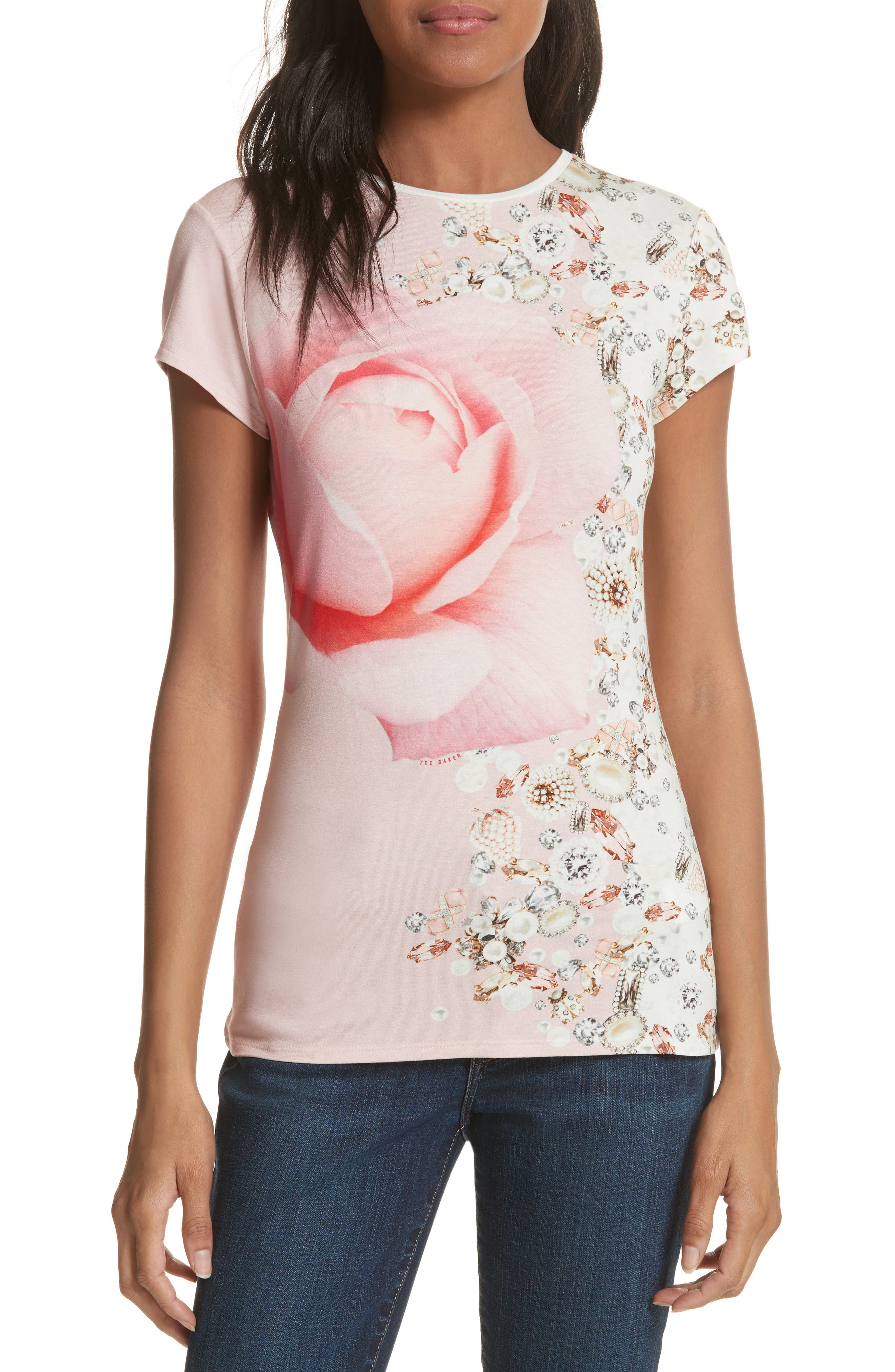 Blenheim Jewels Fitted Tee,                         Main,                         color, Natural