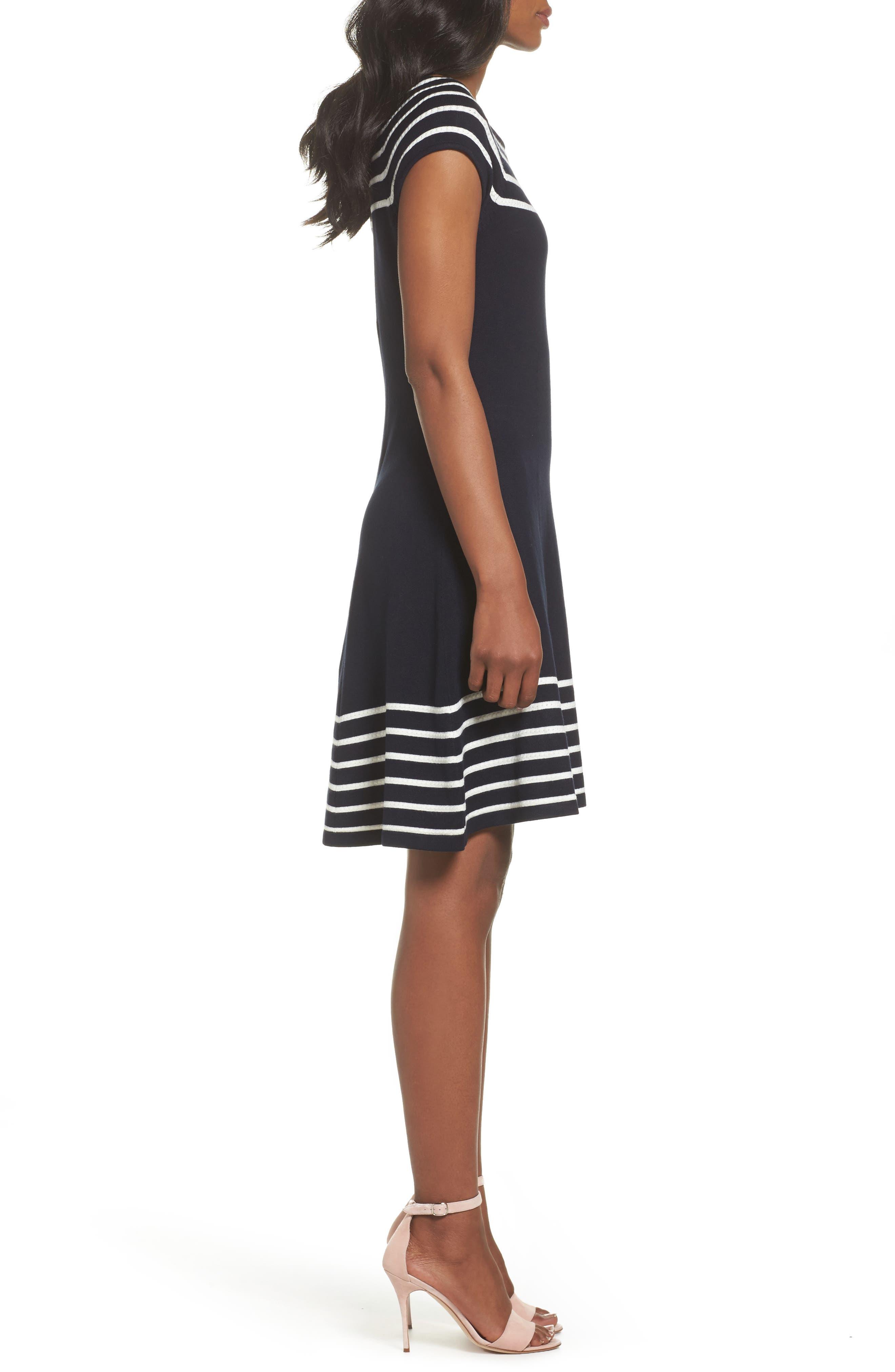 Stripe Knit Flared Dress,                             Alternate thumbnail 3, color,                             Ivory/ Navy