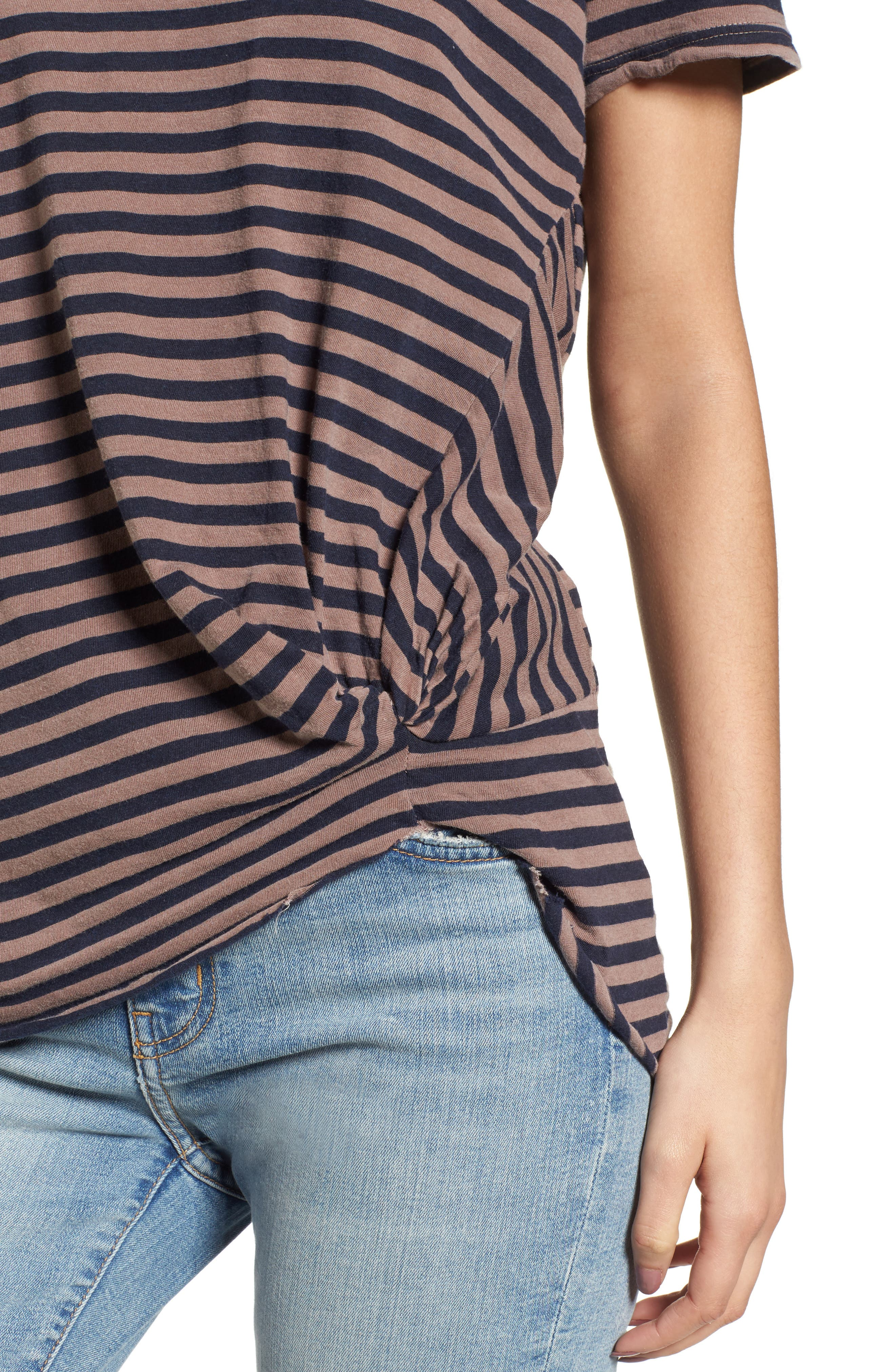 Stripe Twist Front Tee,                             Alternate thumbnail 4, color,                             Mocha