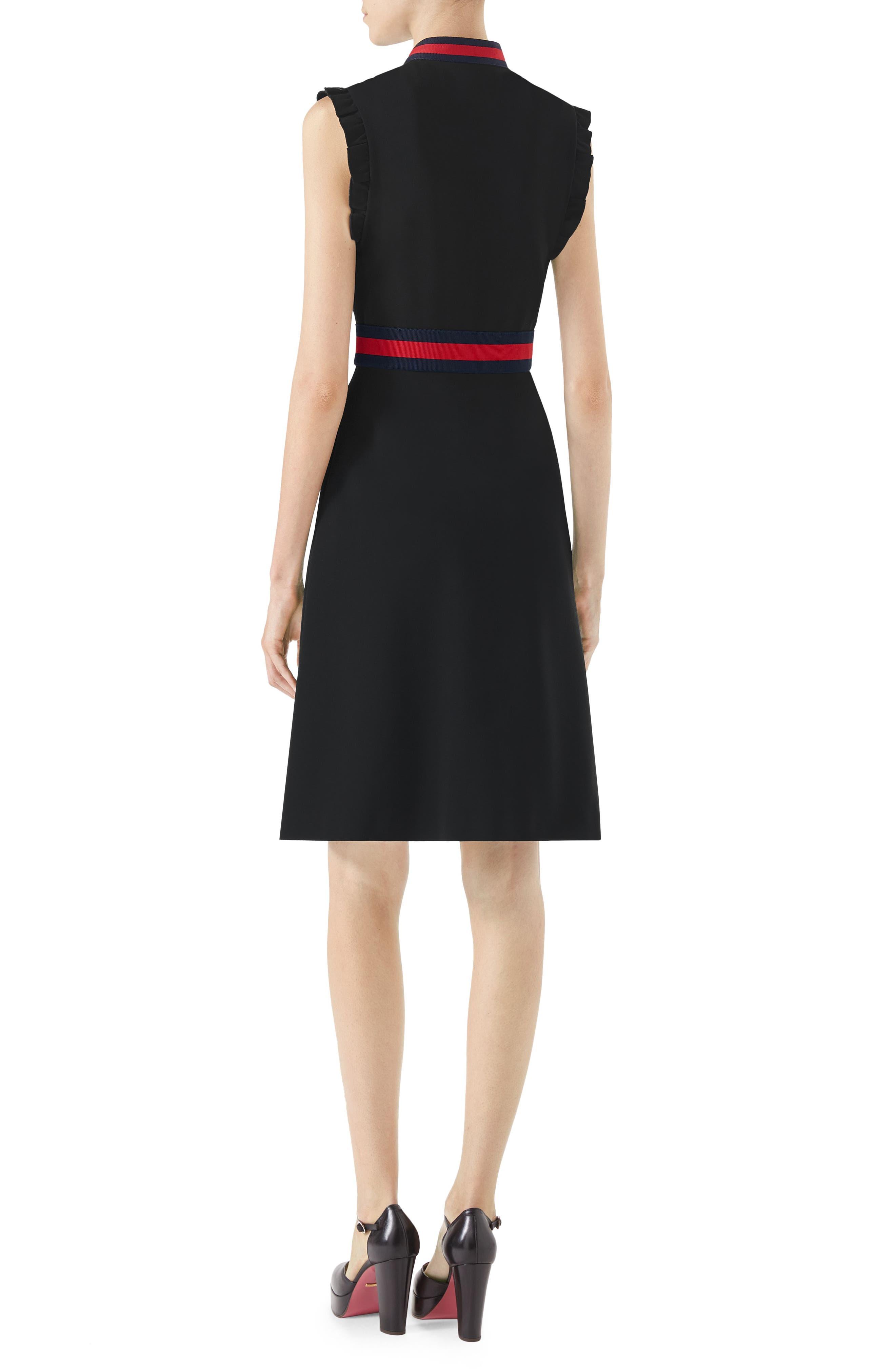 Stripe Trim Jersey Dress,                             Alternate thumbnail 2, color,                             Black