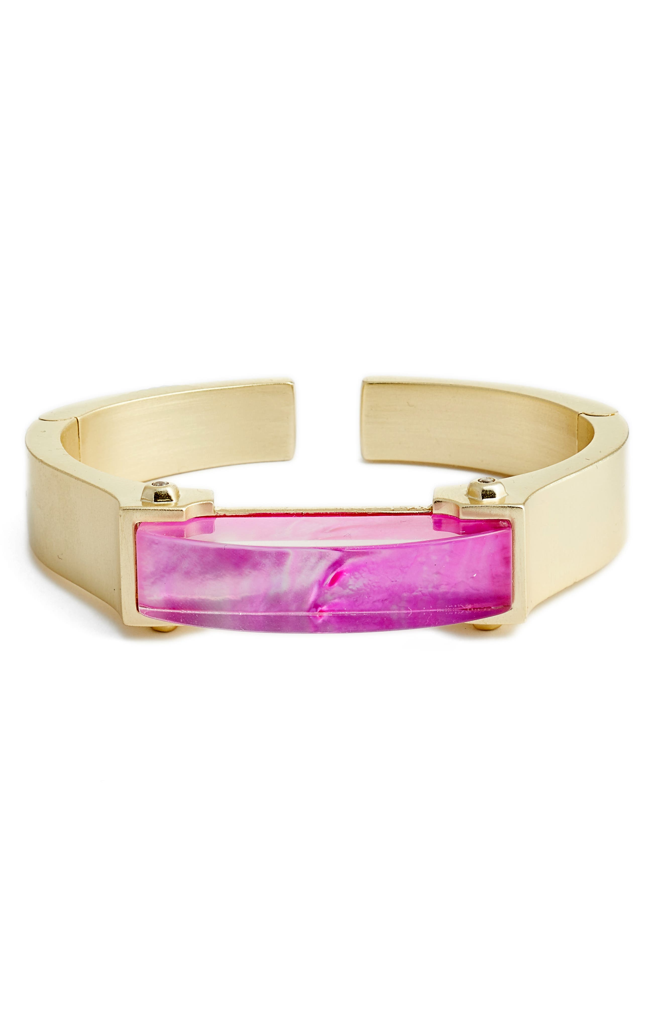 Kailey Cuff Bracelet,                             Main thumbnail 1, color,                             Magenta Mop/ Gold