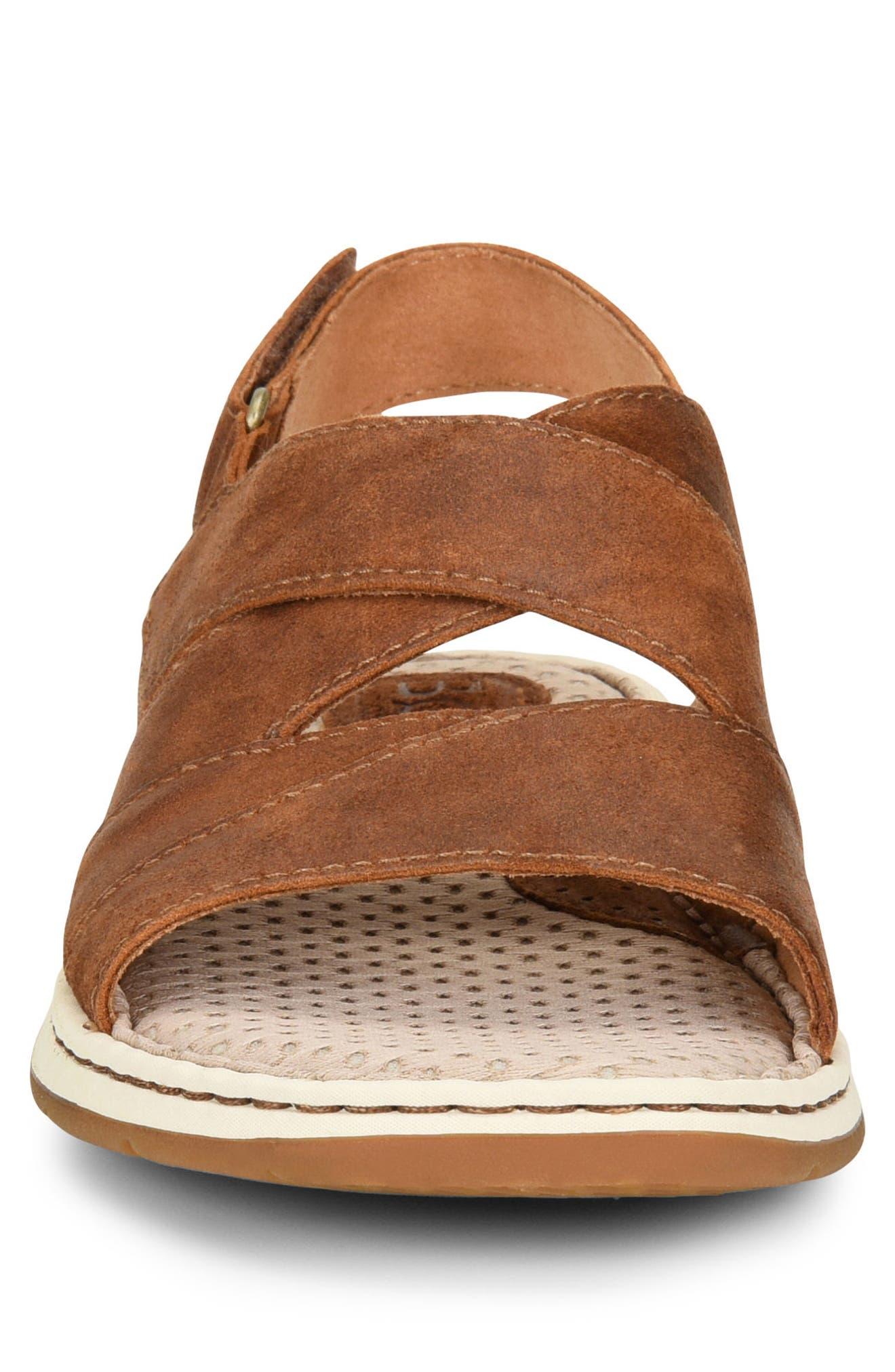 Shell Cross Strap Sandal,                             Alternate thumbnail 4, color,                             Rust Leather