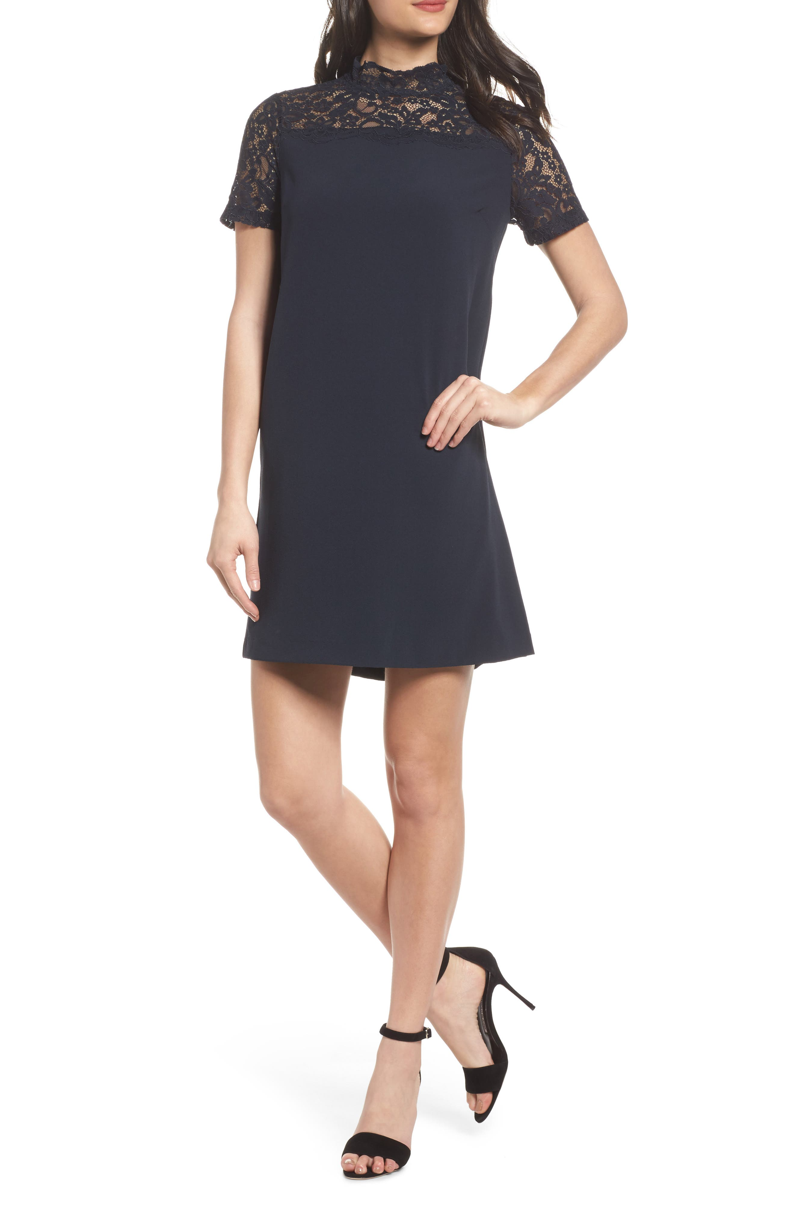 Portofino Lace Detail Shift Dress,                             Main thumbnail 1, color,                             Navy