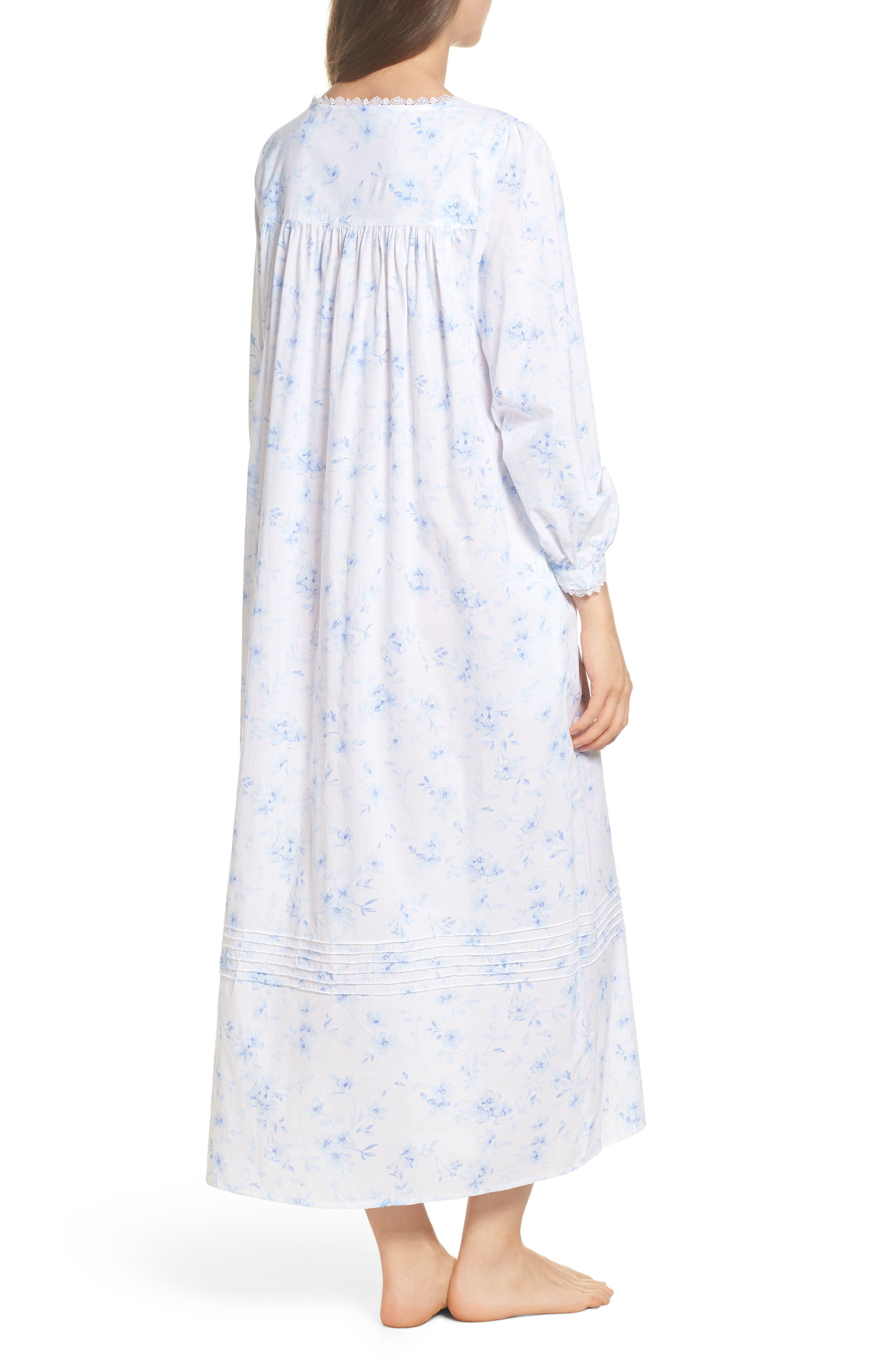Cotton Lawn Ballet Nightgown,                             Alternate thumbnail 2, color,                             White Mono Floral