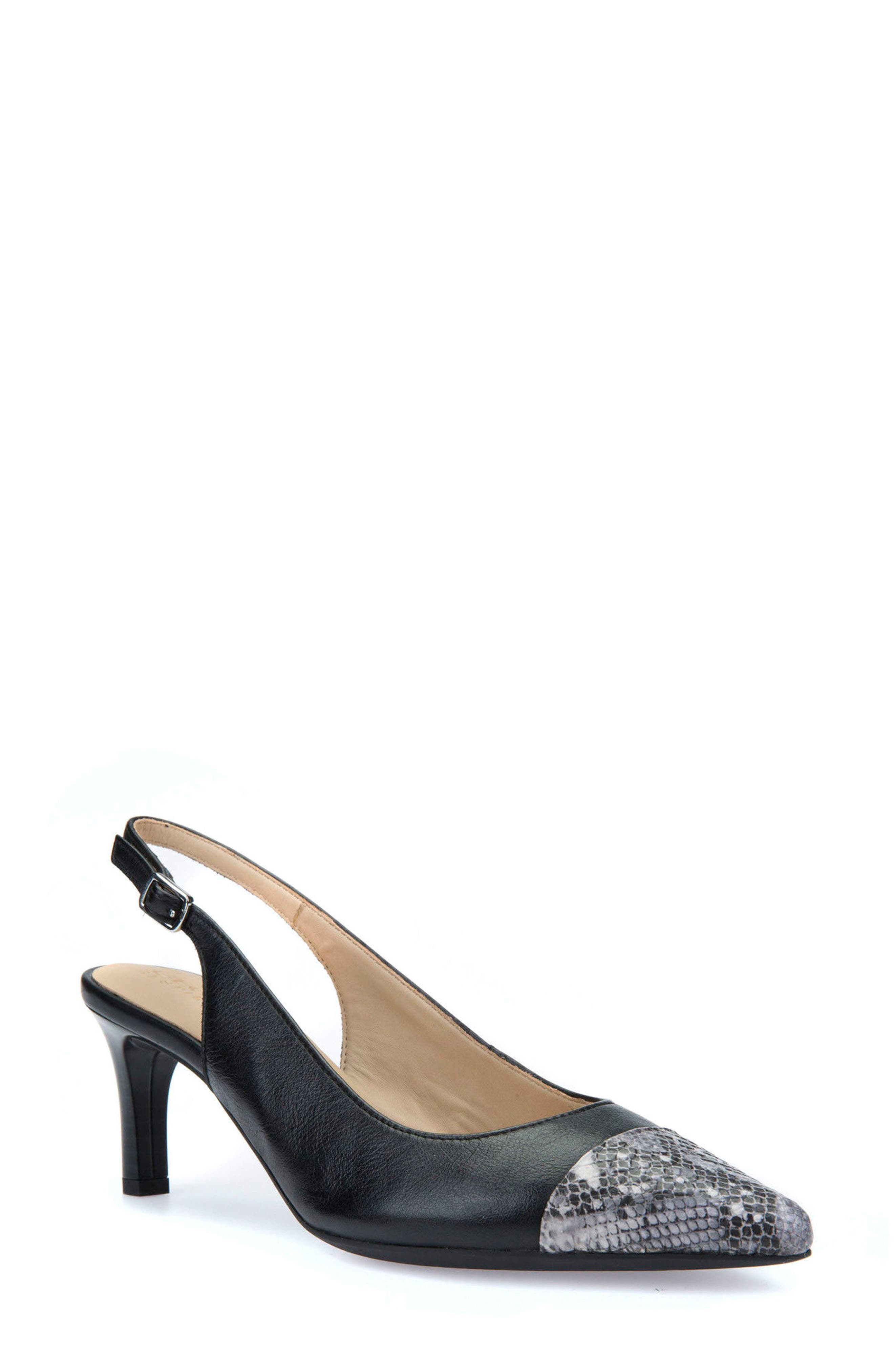 Bibbiana Slingback Pump,                         Main,                         color, Black Leather