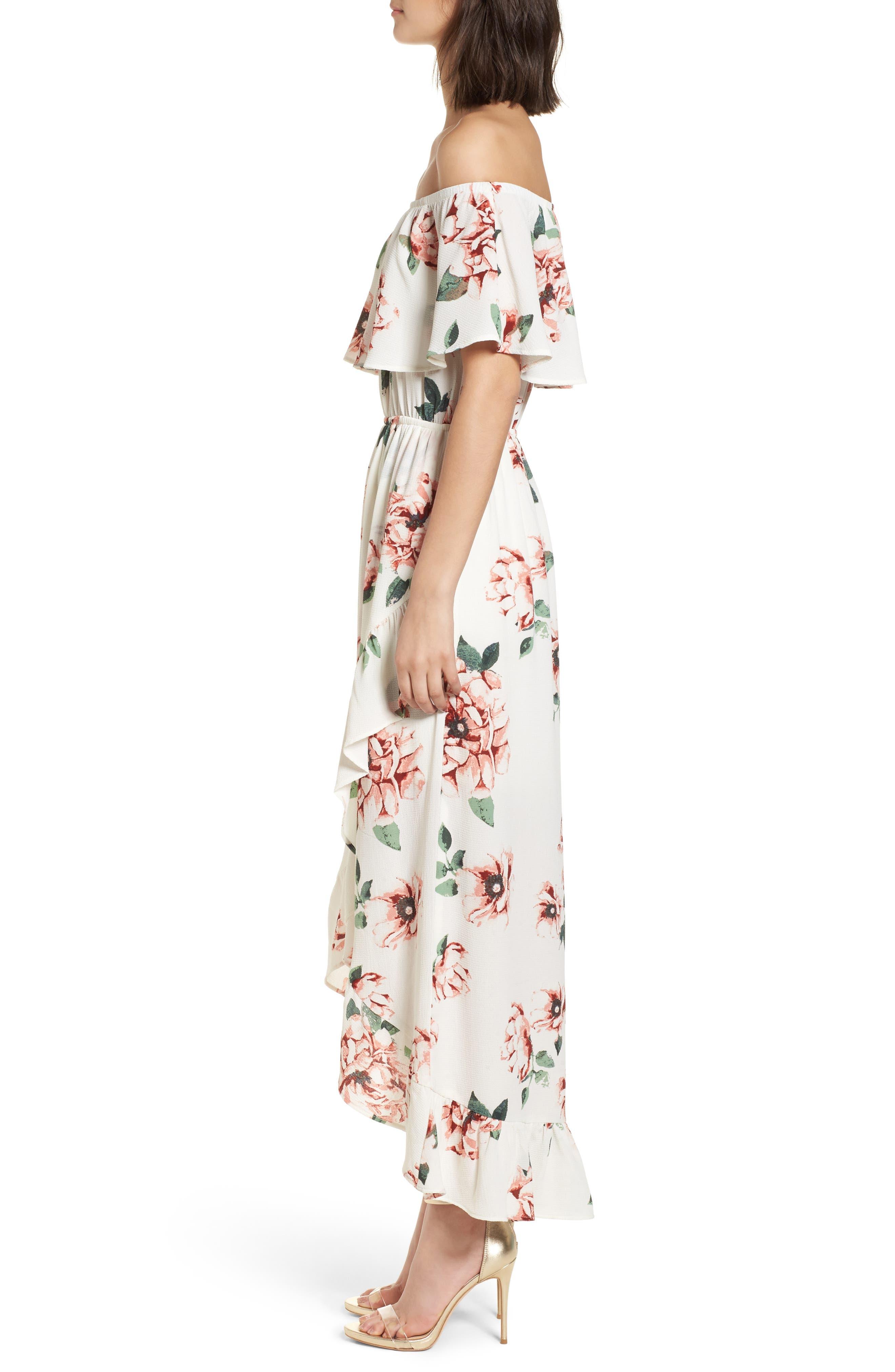 Off the Shoulder Maxi Dress,                             Alternate thumbnail 3, color,                             Ivory Floral