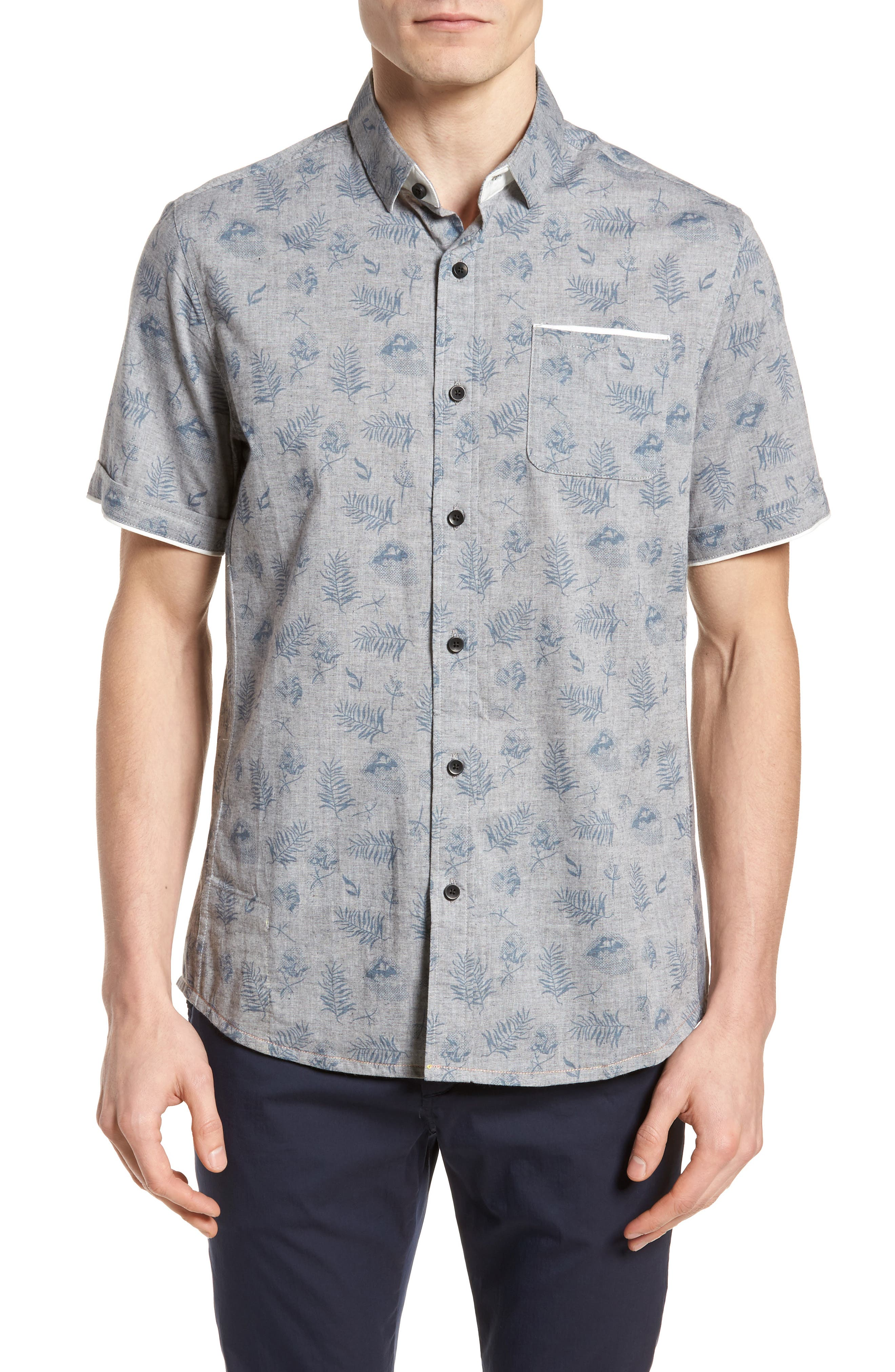 Rock Steady Woven Shirt,                         Main,                         color, Grey
