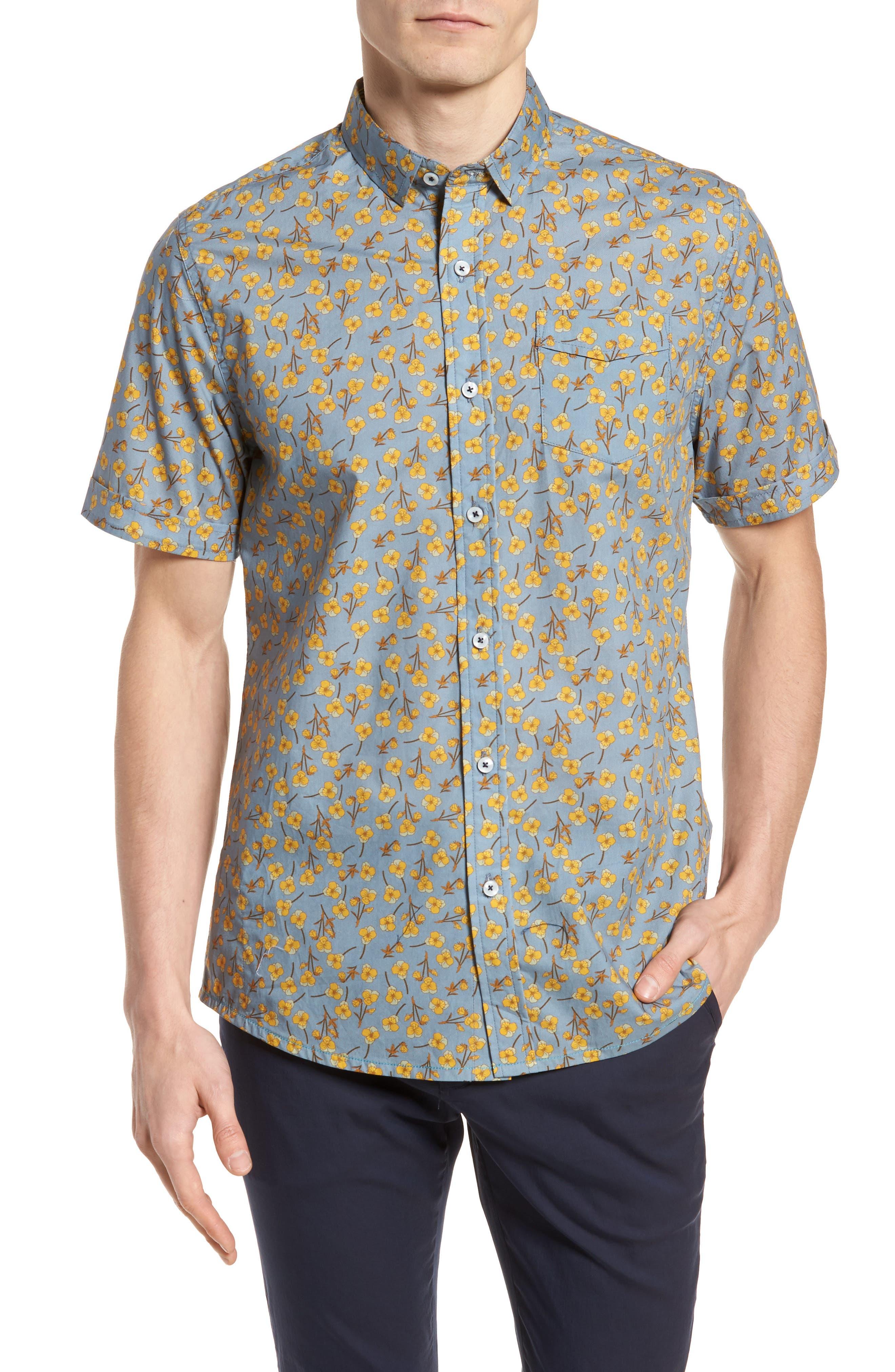 Golden Flower Shirt,                             Main thumbnail 1, color,                             Gold