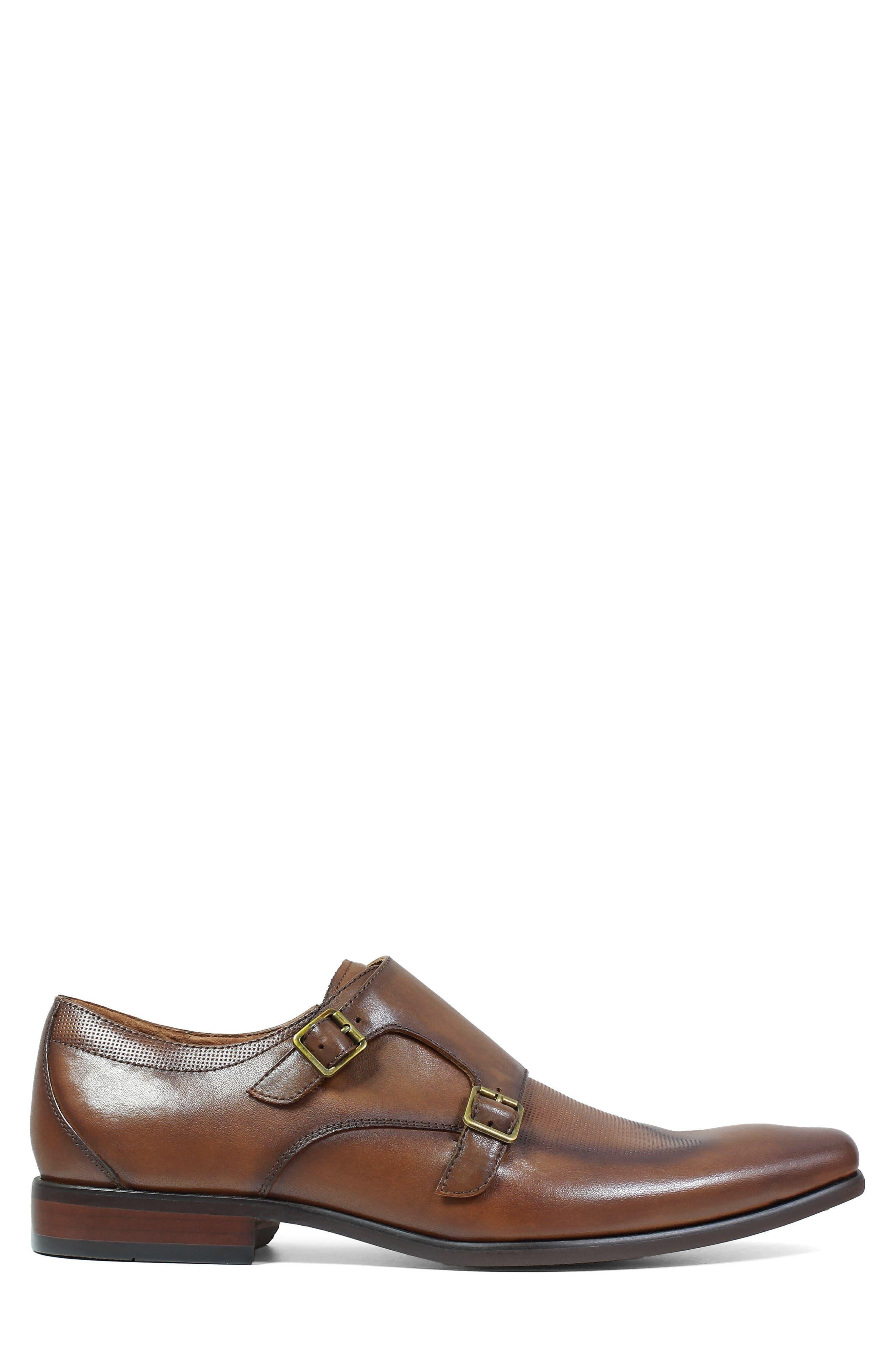 Postino Textured Double Strap Monk Shoe,                             Alternate thumbnail 3, color,                             Cognac Leather