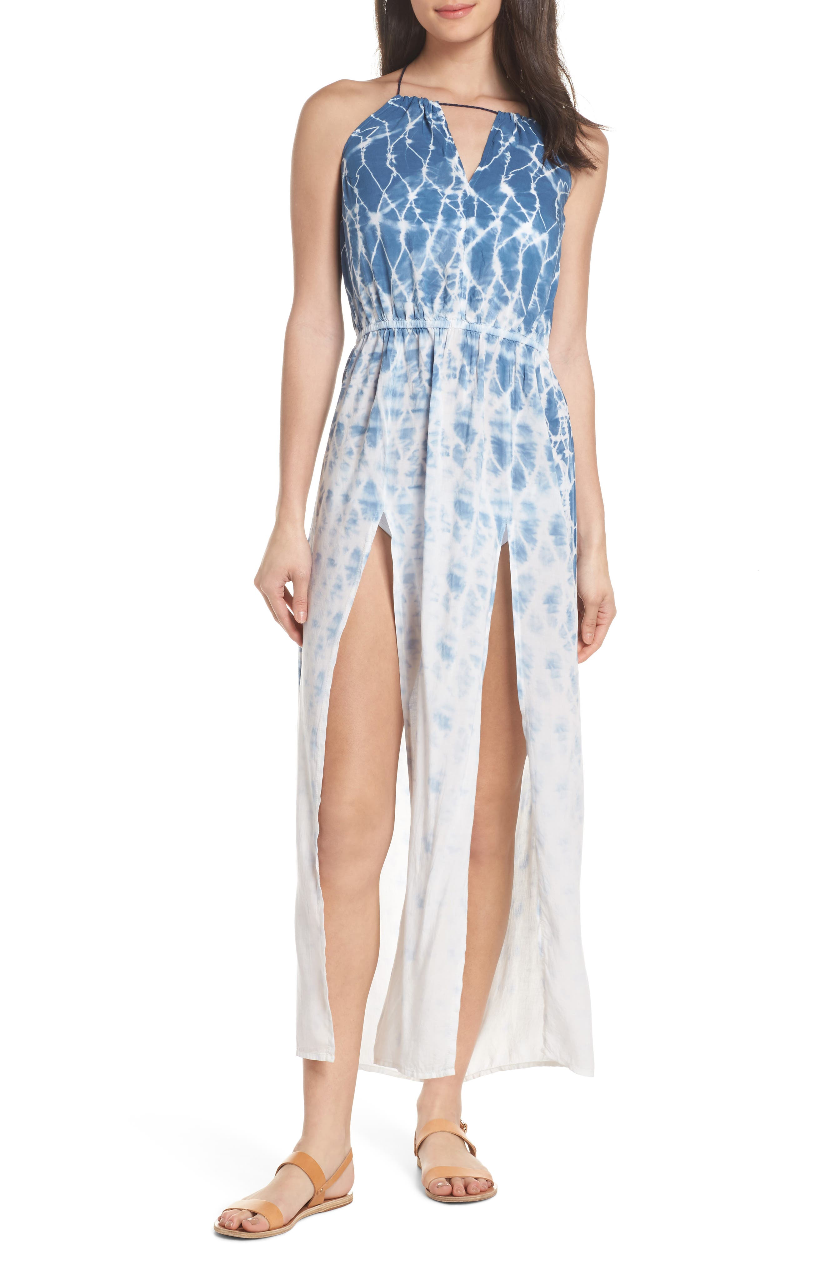 Tie Dye Halter Cover-Up Maxi Dress,                         Main,                         color, Navy