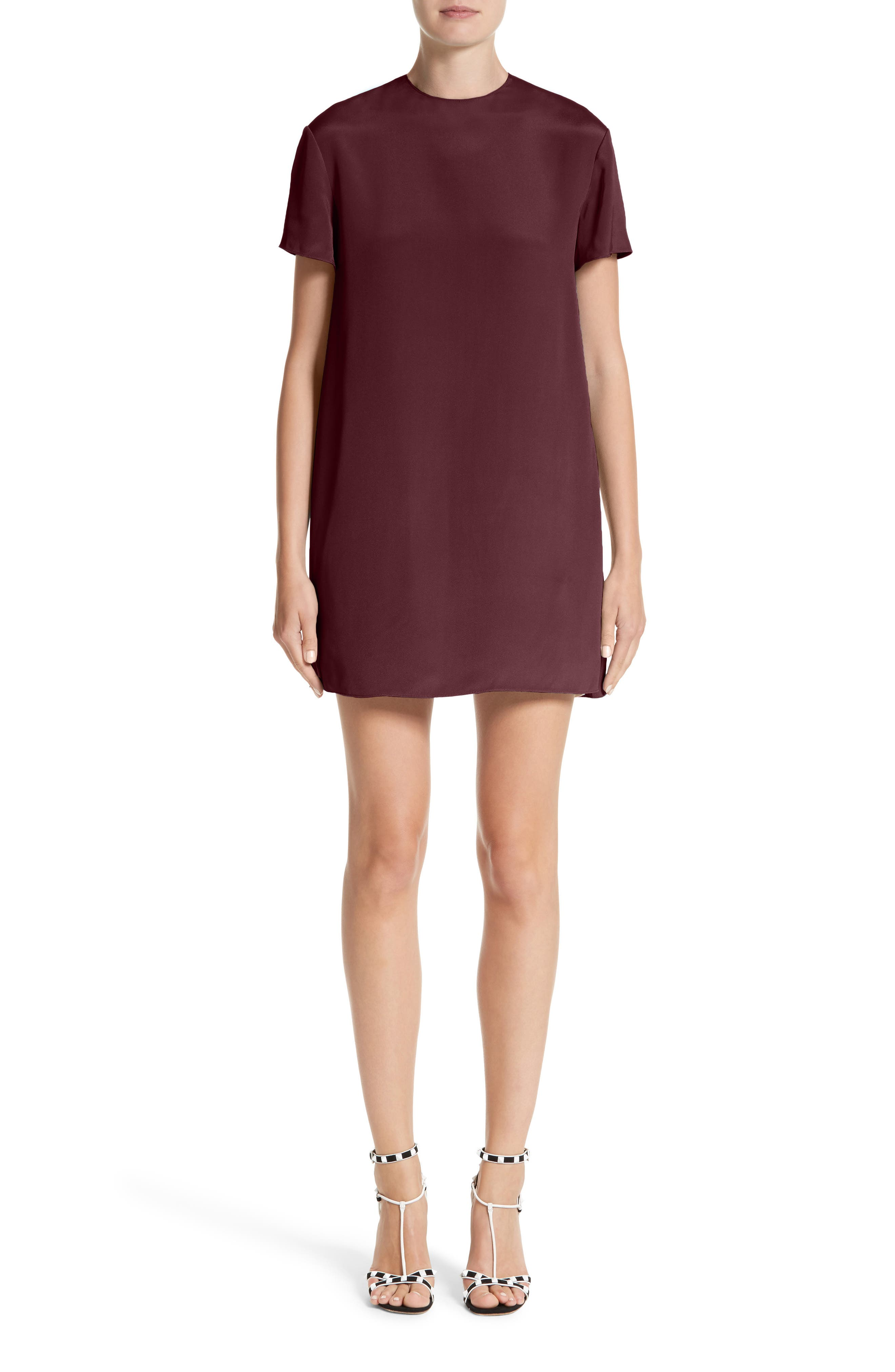 Silk Shift Dress,                             Main thumbnail 1, color,                             Burgundy / Ivory
