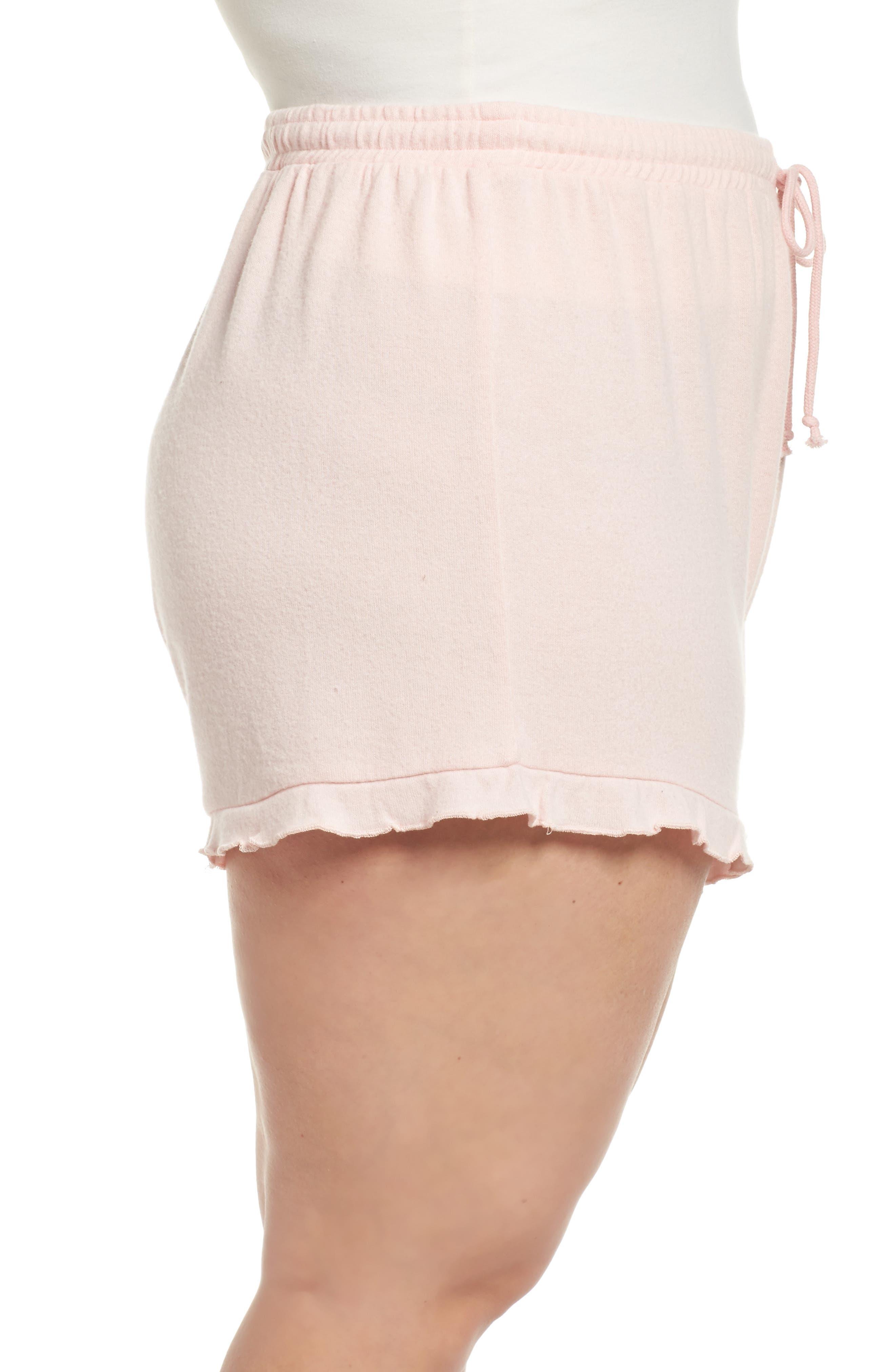 Ruffle Lounge Shorts,                             Alternate thumbnail 3, color,                             Blush