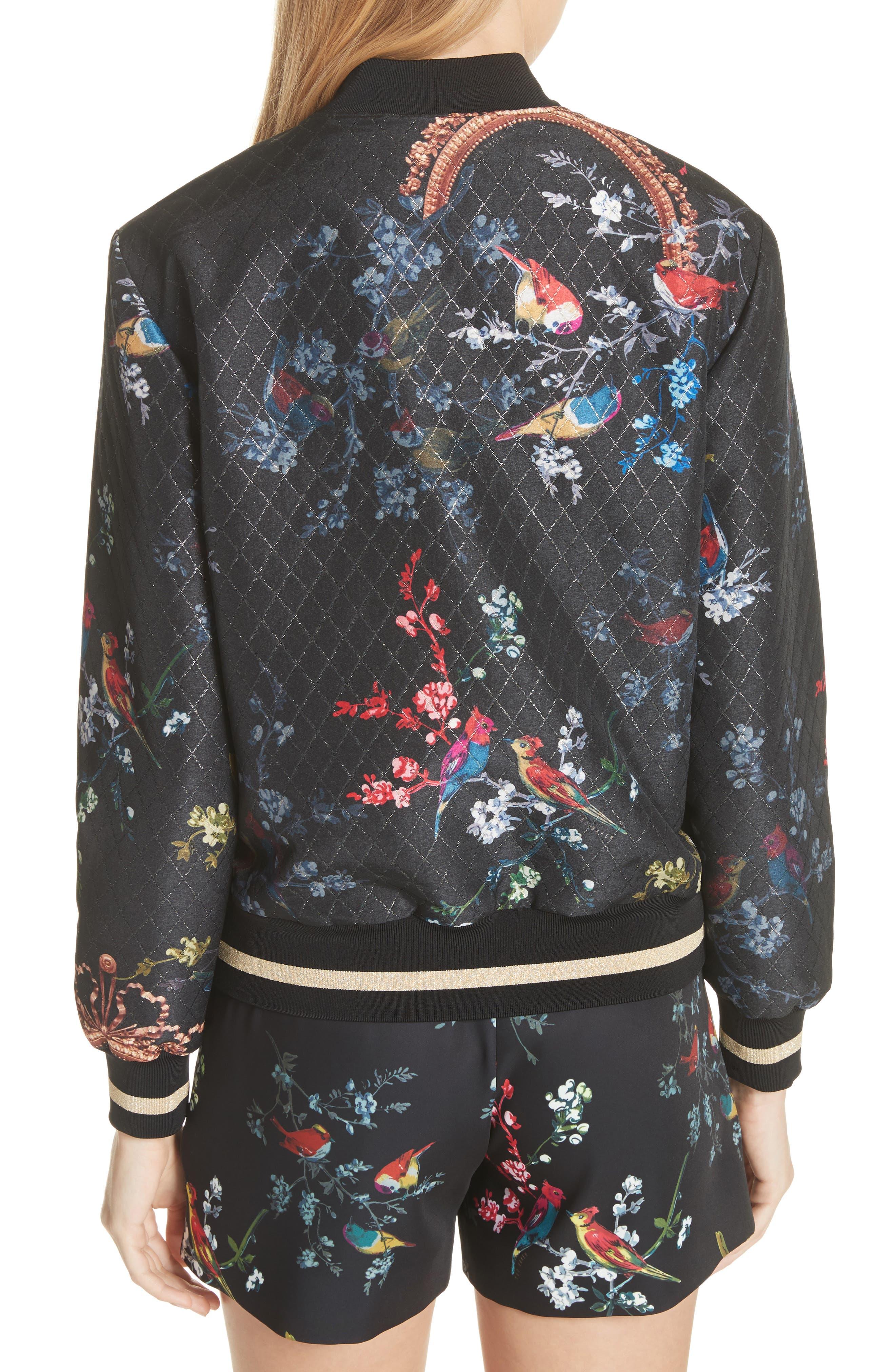 Opulent Fauna Bomber Jacket,                             Alternate thumbnail 2, color,                             Black