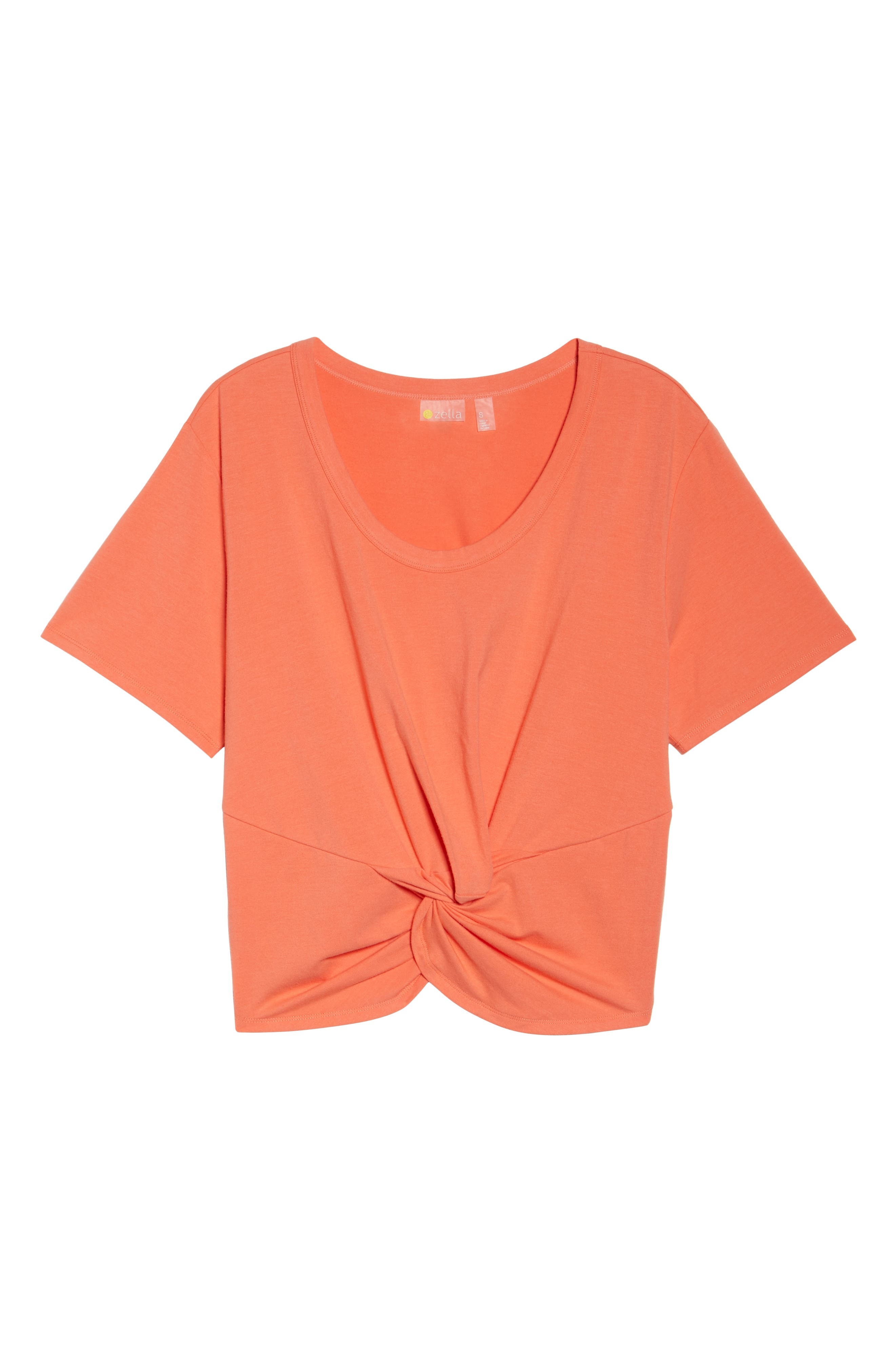 Knotty Crop Tee,                             Alternate thumbnail 7, color,                             Coral Reef