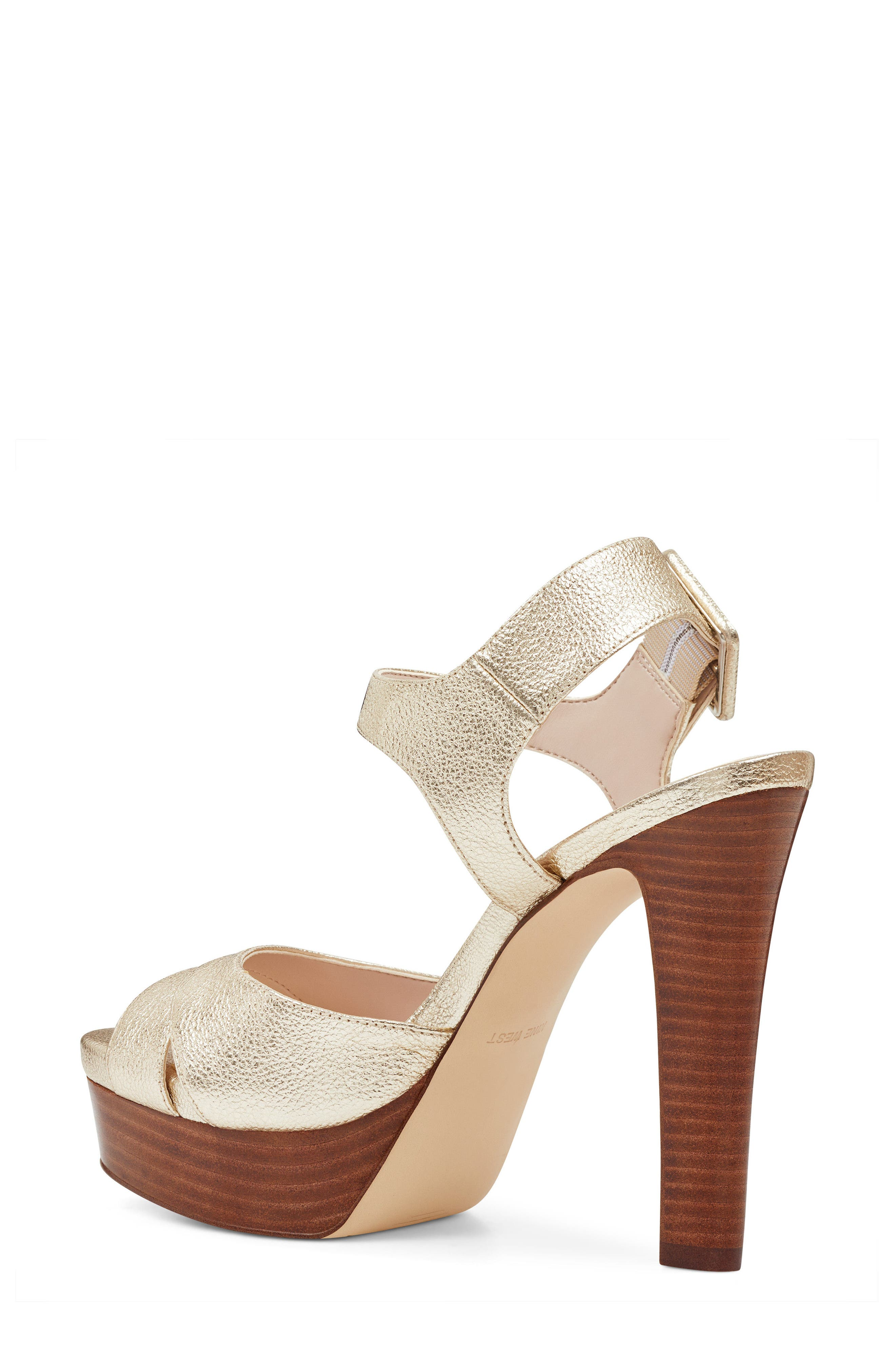 Ibyn Platform Sandal,                             Alternate thumbnail 2, color,                             Light Gold Leather