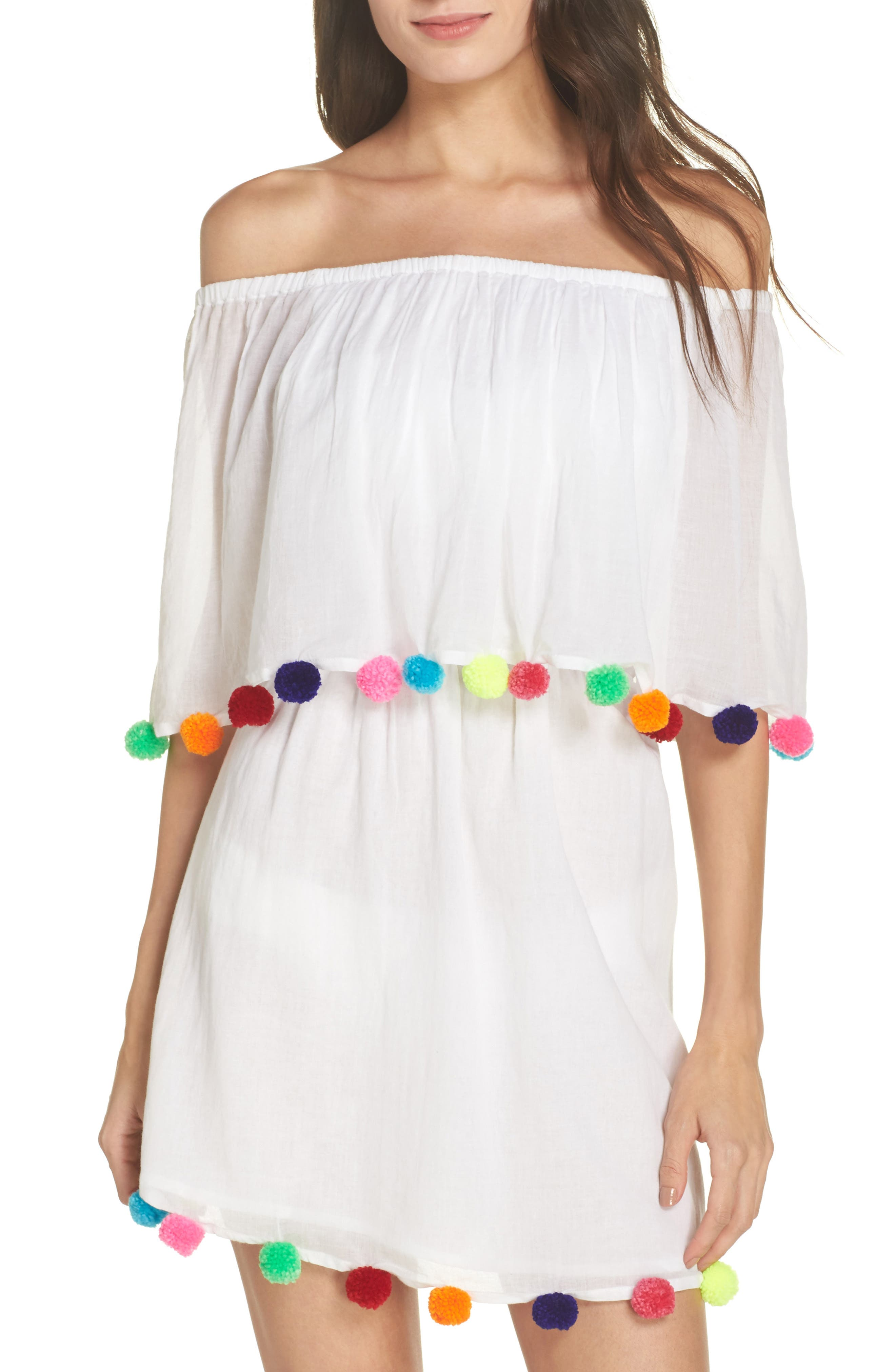 Pompom Festival Cover-Up Dress,                             Main thumbnail 1, color,                             White