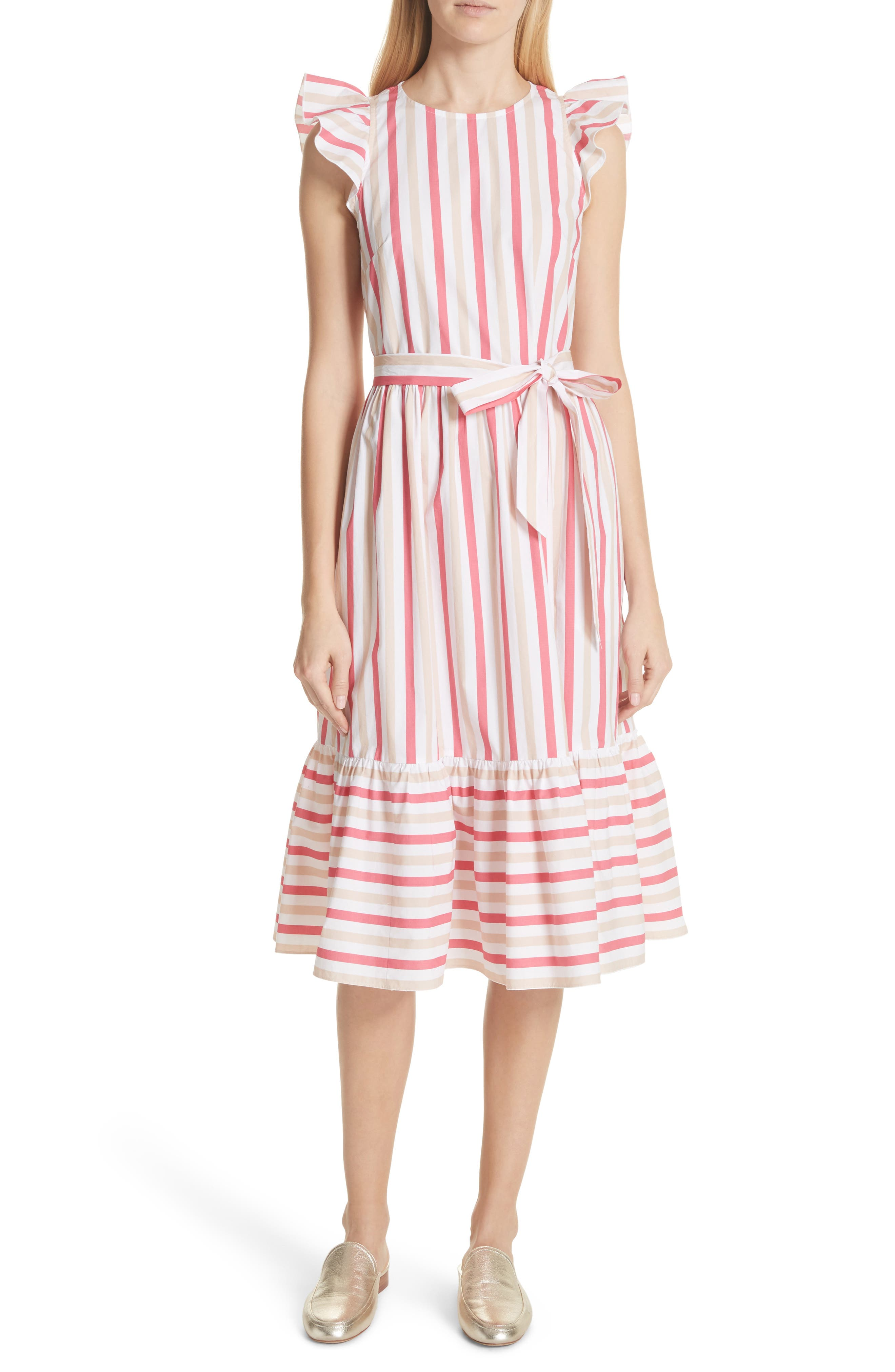 stripe poplin midi dress,                             Main thumbnail 1, color,                             Peach Sherbet